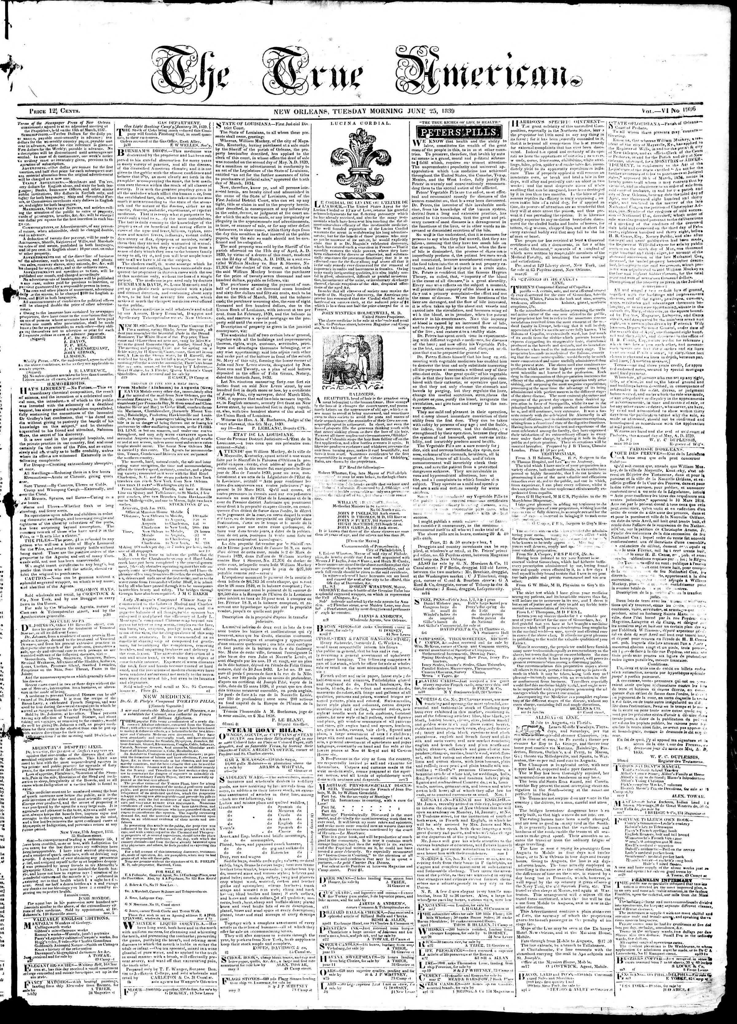 June 25, 1839 Tarihli True American Gazetesi Sayfa 1