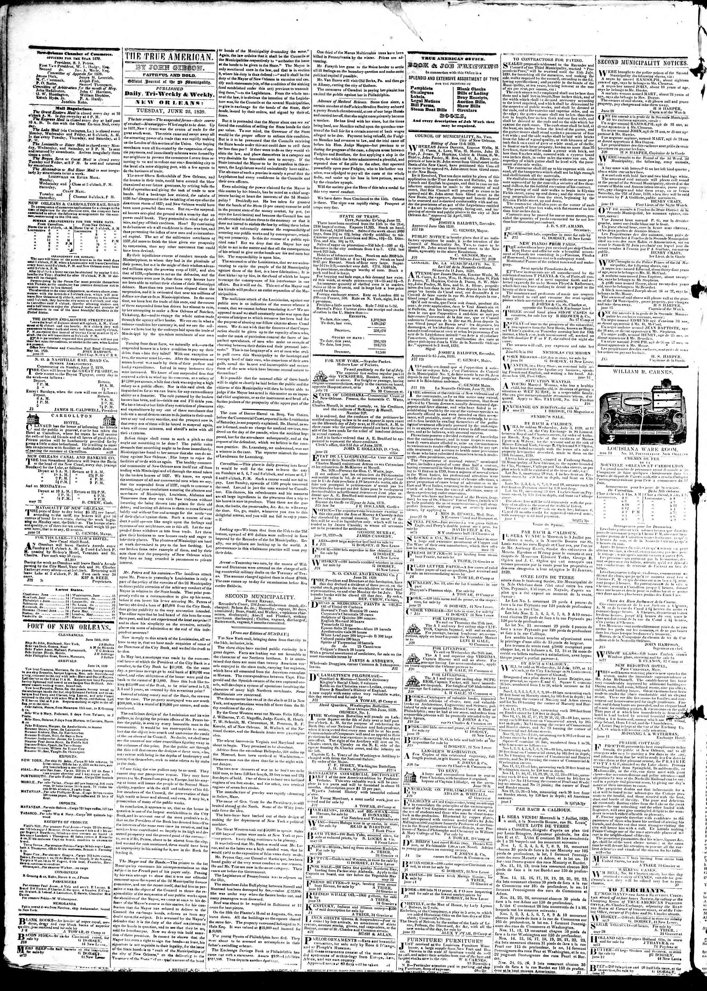 Newspaper of True American dated 25 Haziran 1839 Page 2