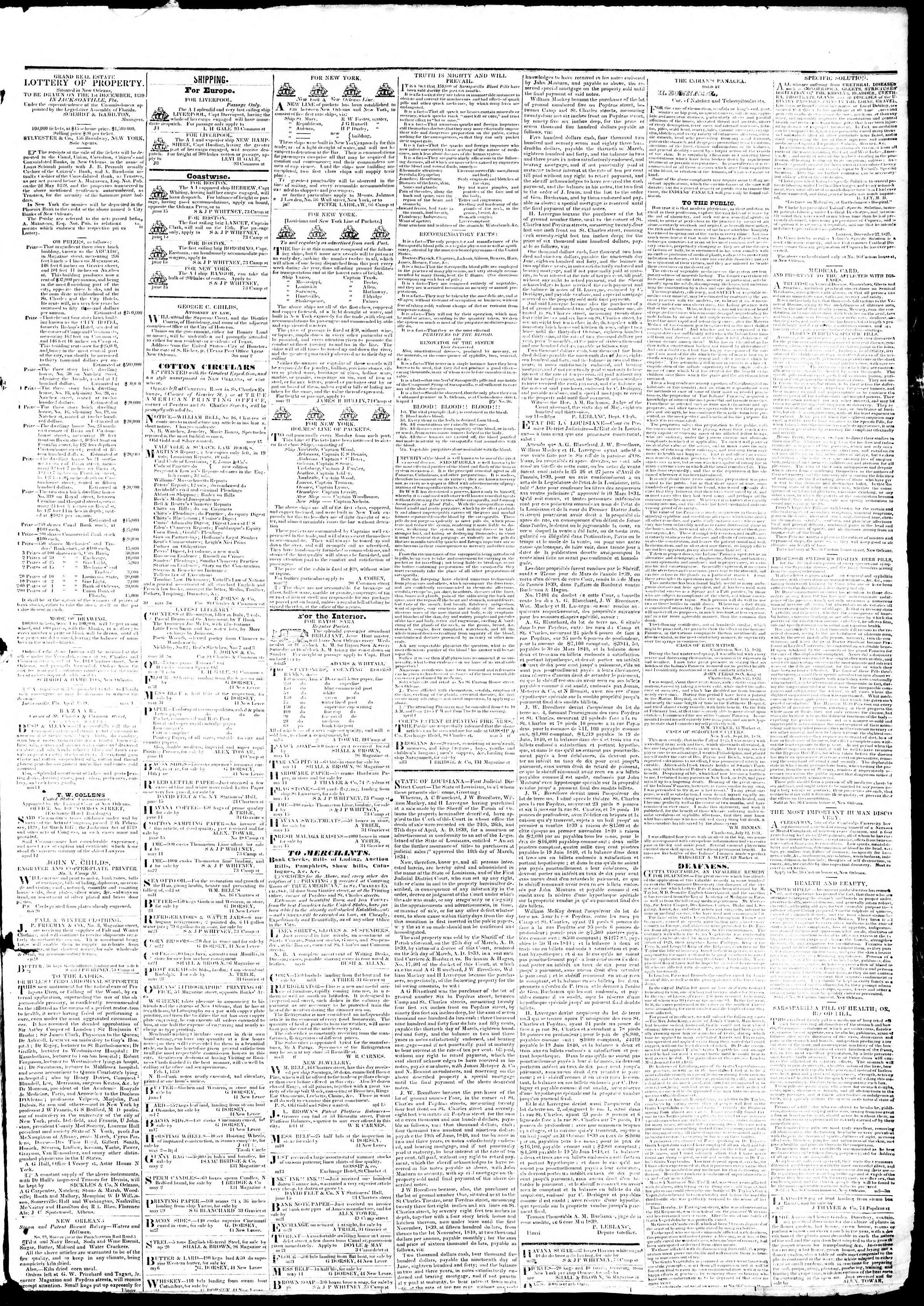 June 25, 1839 Tarihli True American Gazetesi Sayfa 3