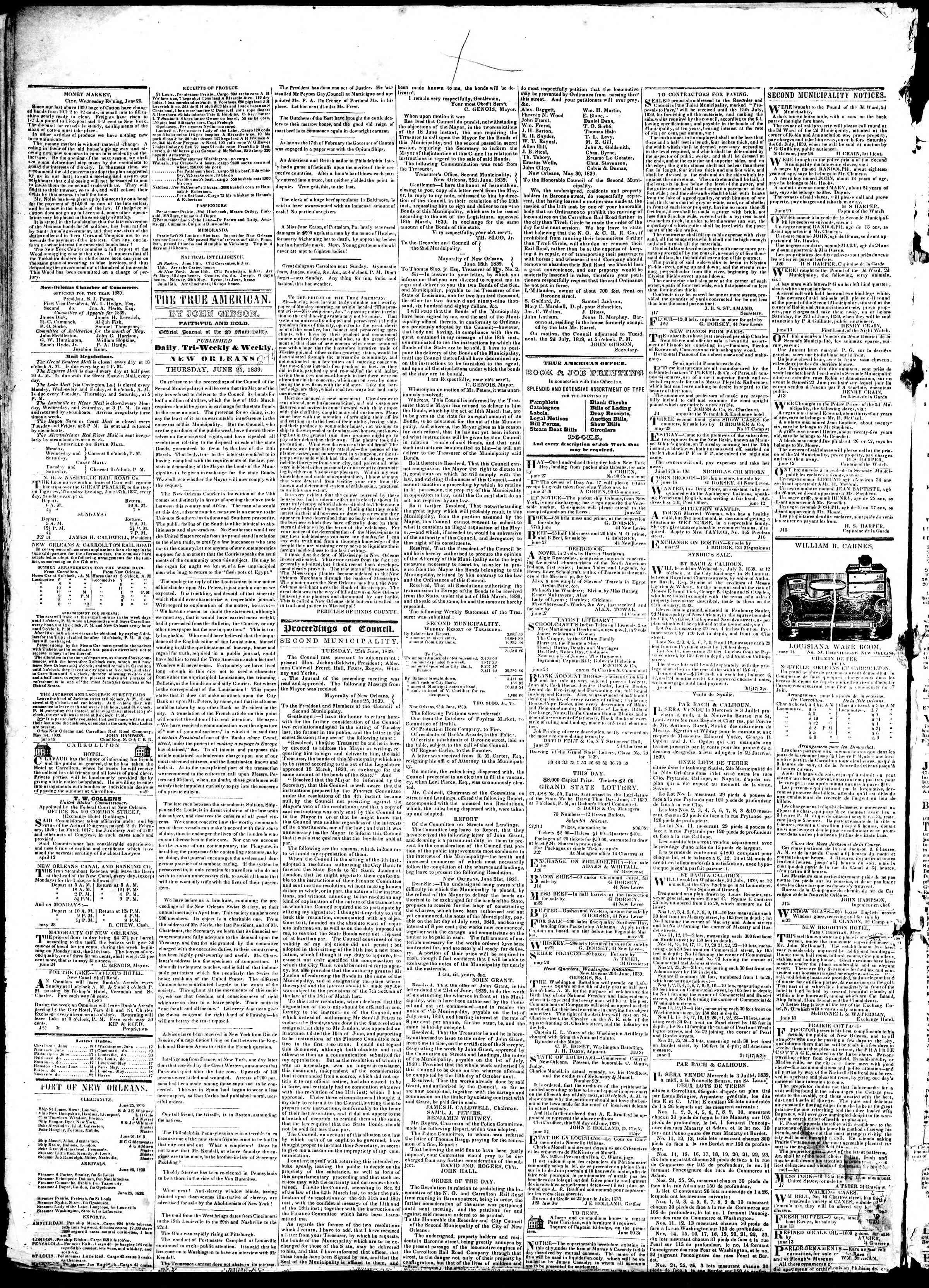 June 27, 1839 Tarihli True American Gazetesi Sayfa 2