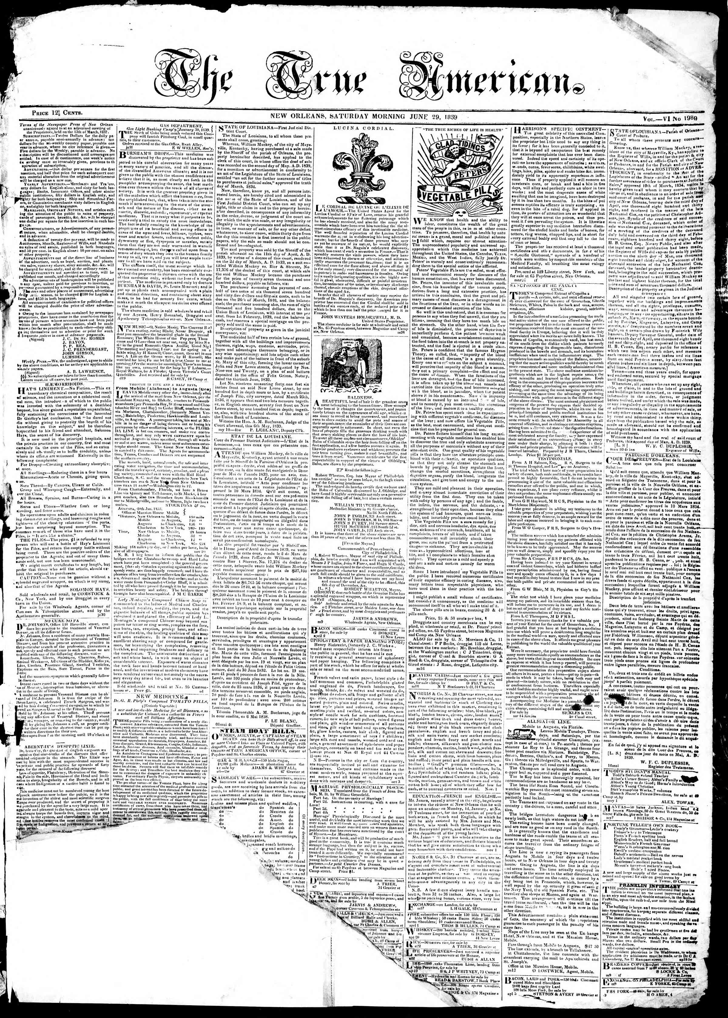 Newspaper of True American dated June 29, 1839 Page 1