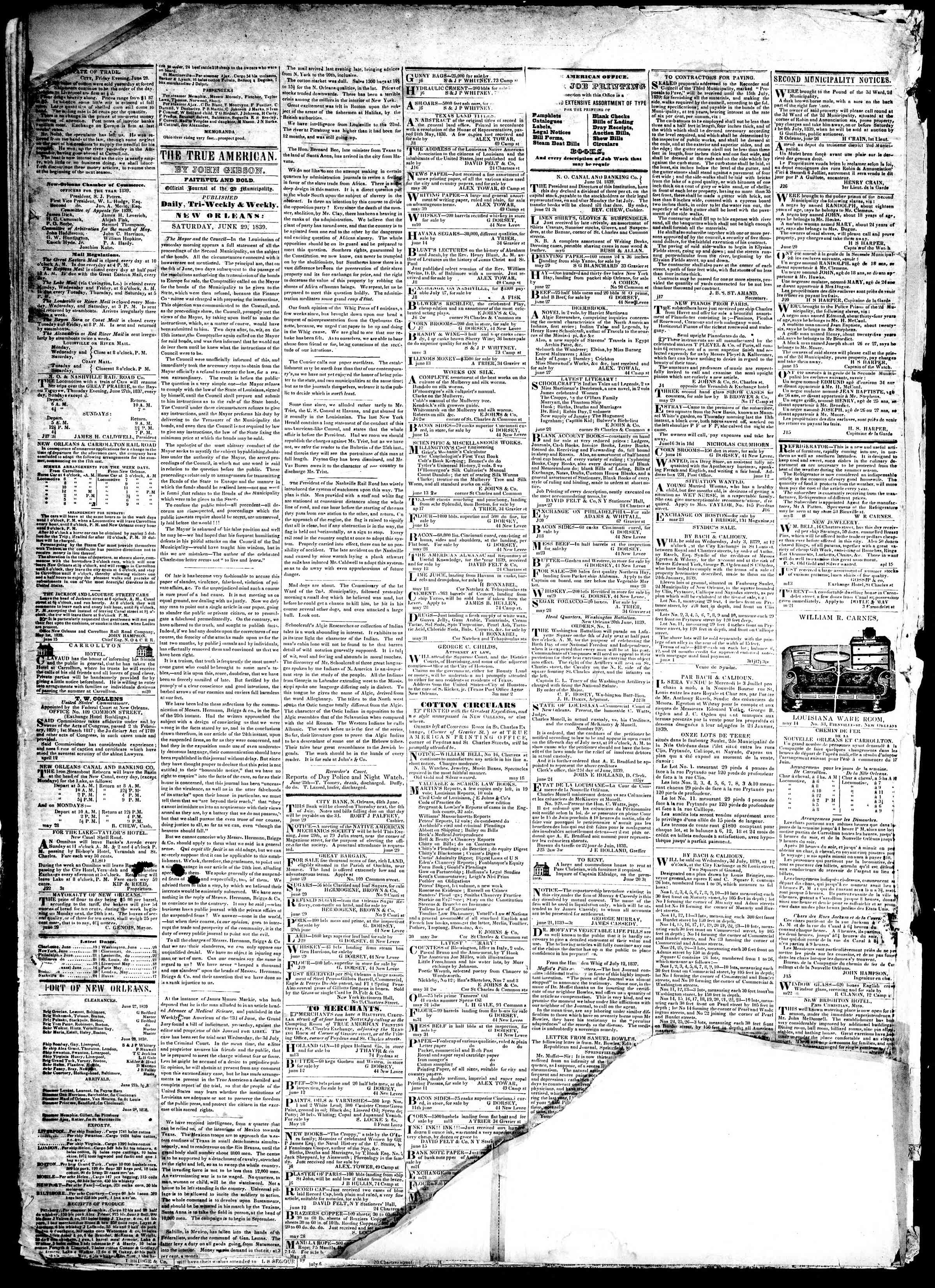 Newspaper of True American dated June 29, 1839 Page 2