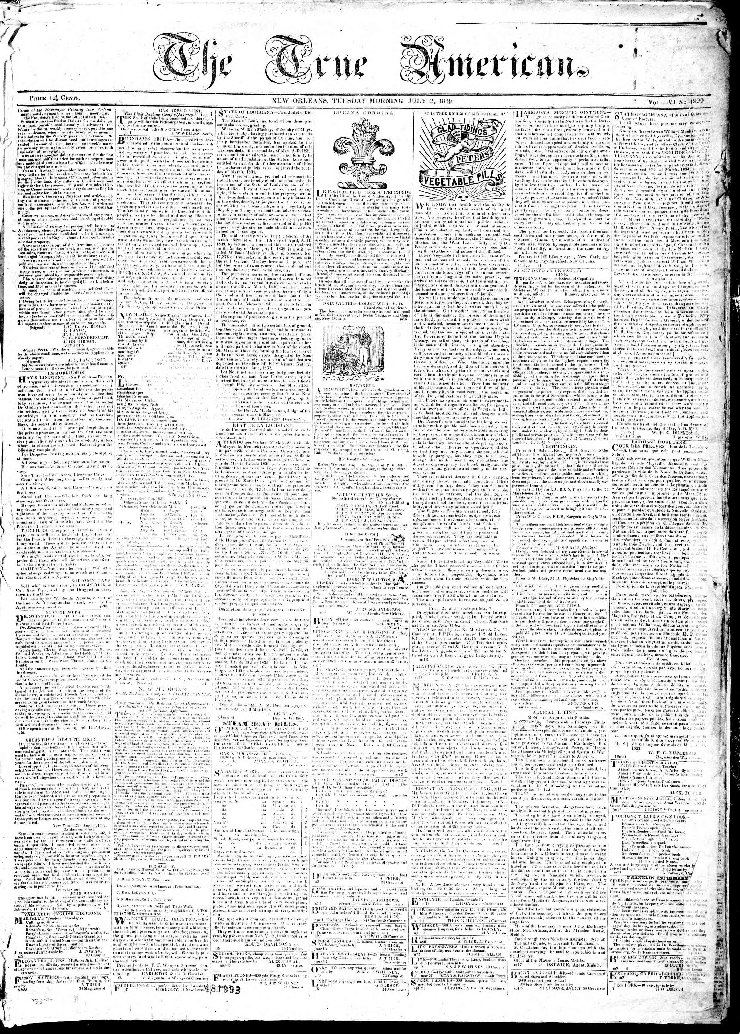 Newspaper of True American dated July 2, 1839 Page 1