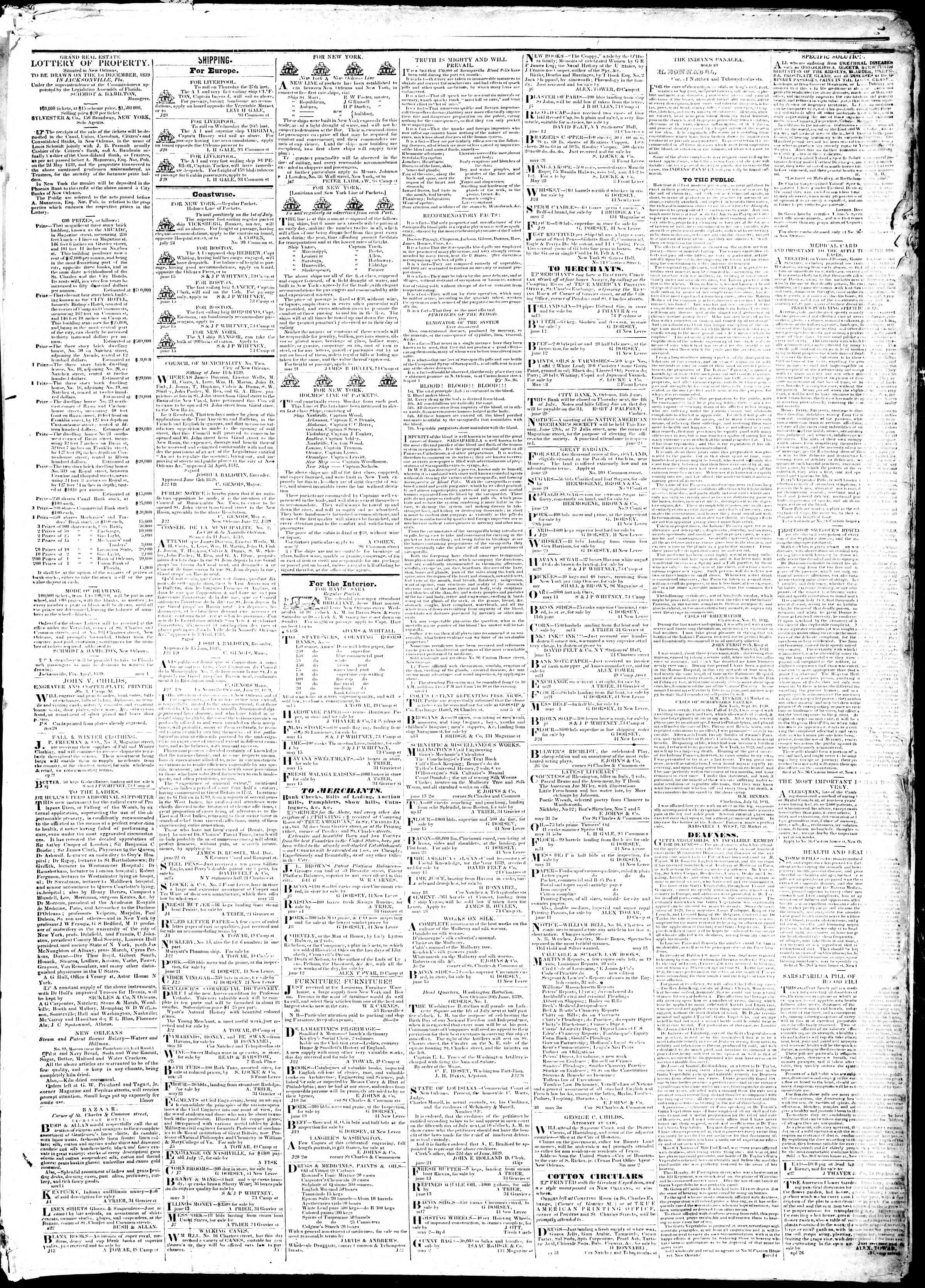 Newspaper of True American dated July 2, 1839 Page 3