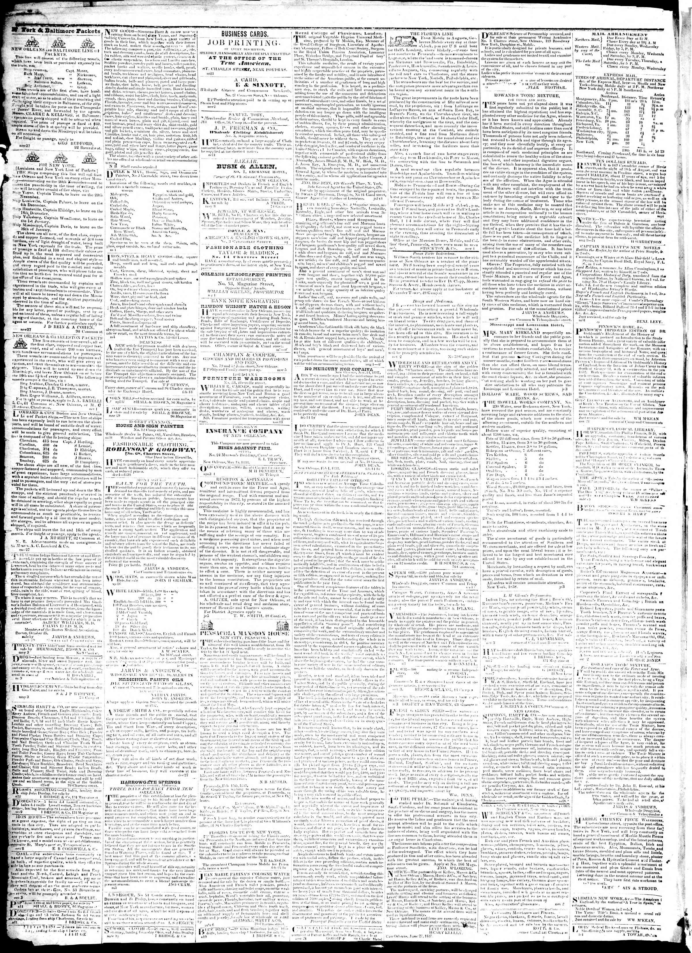 Newspaper of True American dated July 2, 1839 Page 4