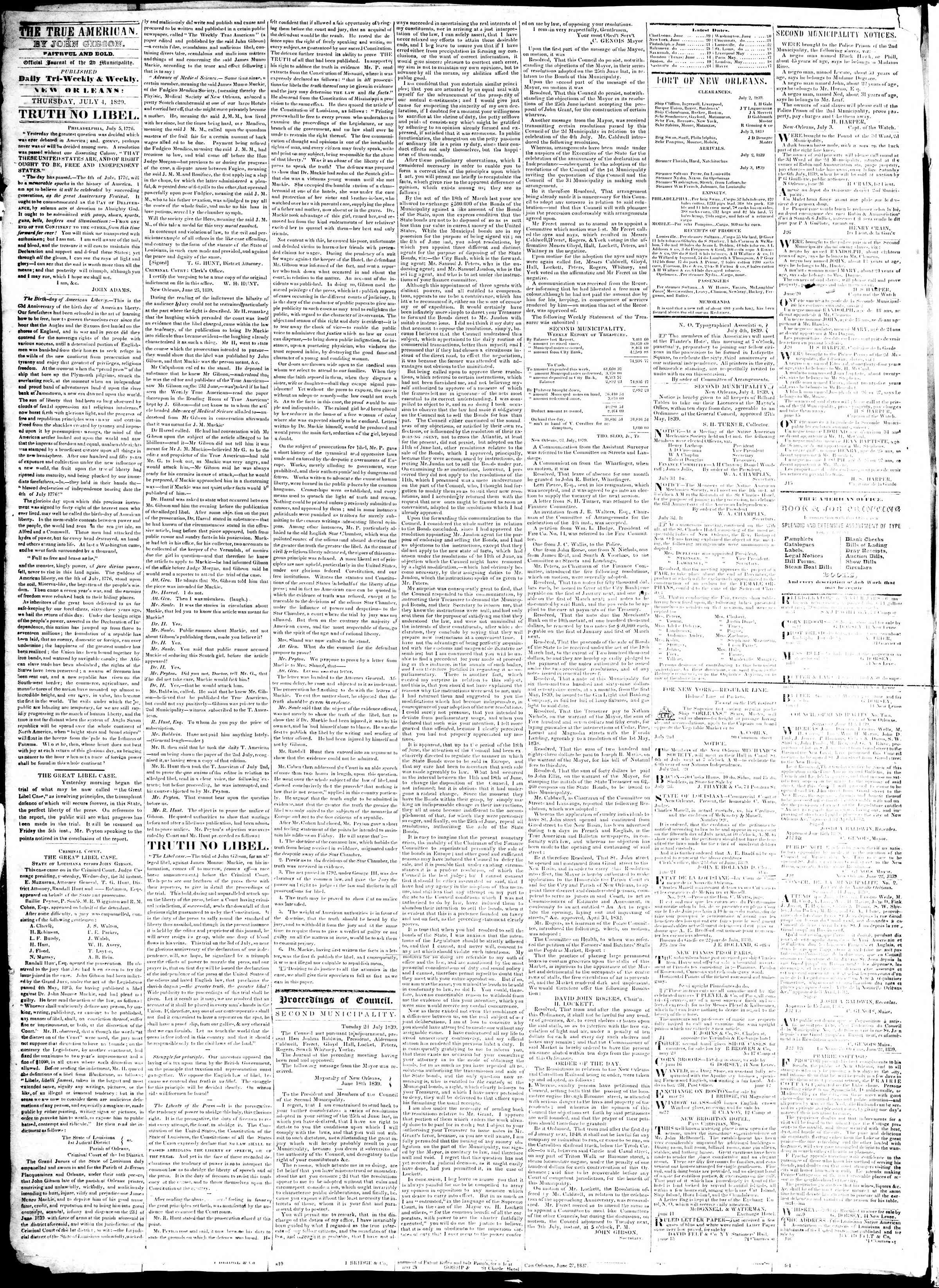 Newspaper of True American dated July 4, 1839 Page 2