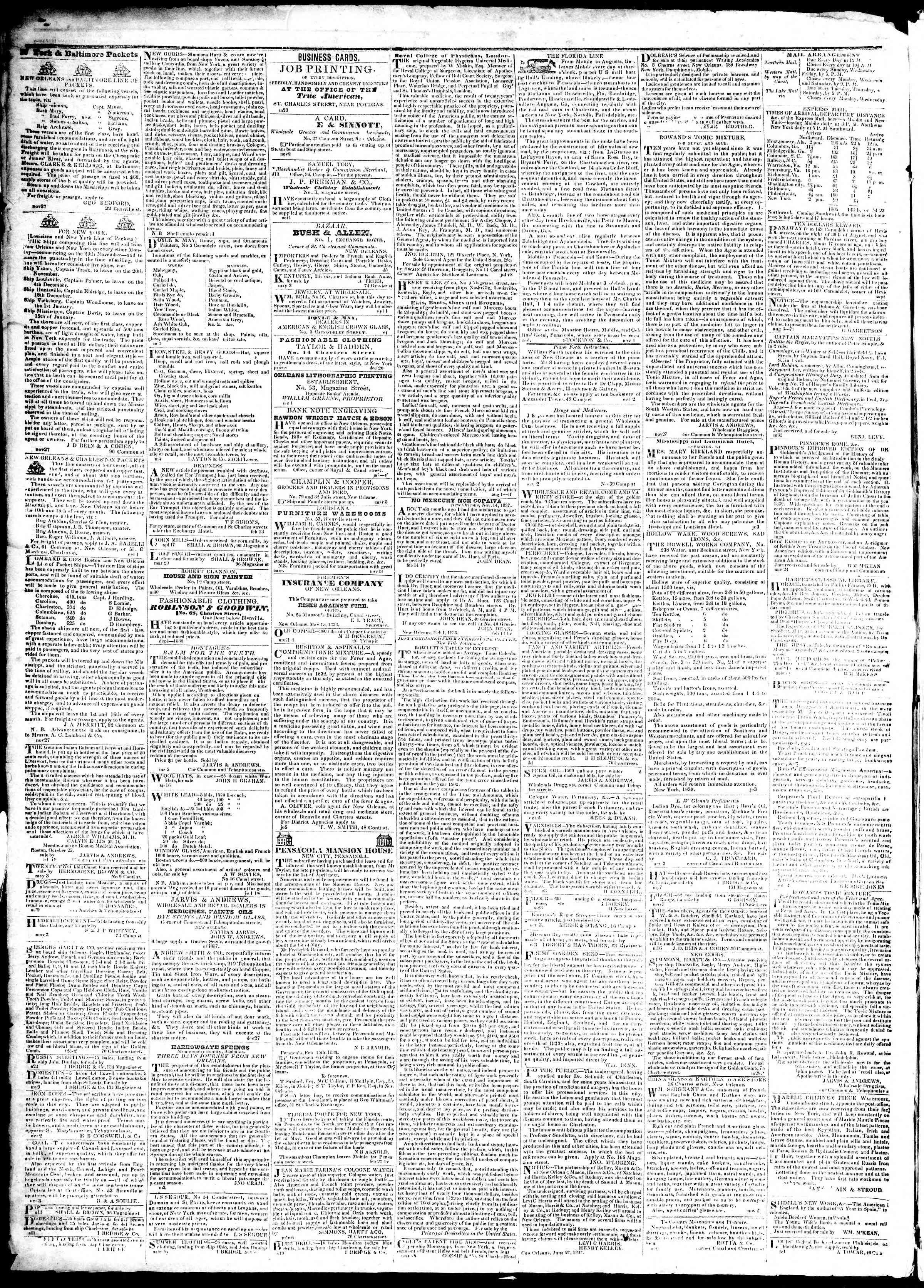 4 Temmuz 1839 tarihli True American Gazetesi Sayfa 4