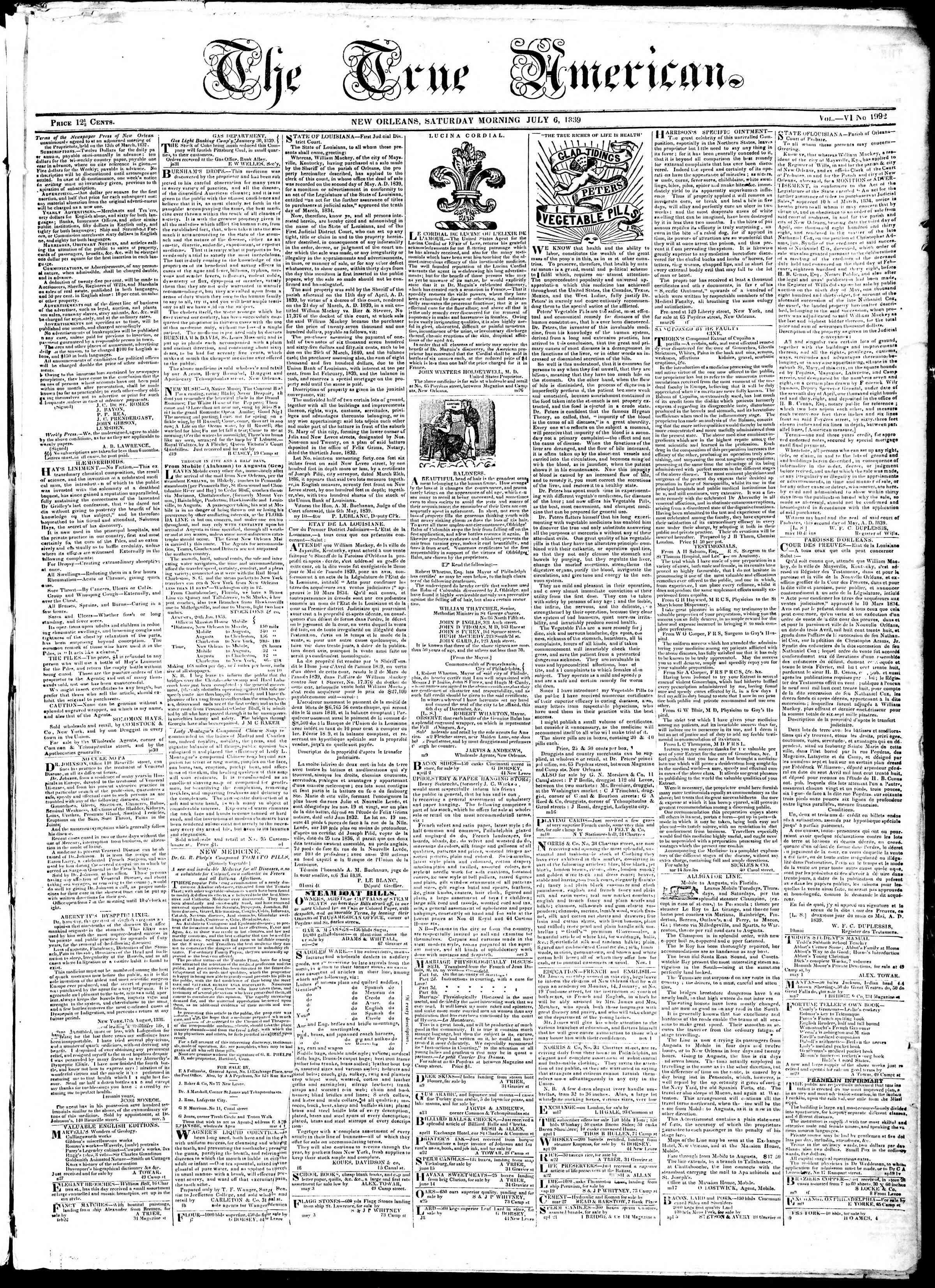 July 6, 1839 Tarihli True American Gazetesi Sayfa 1