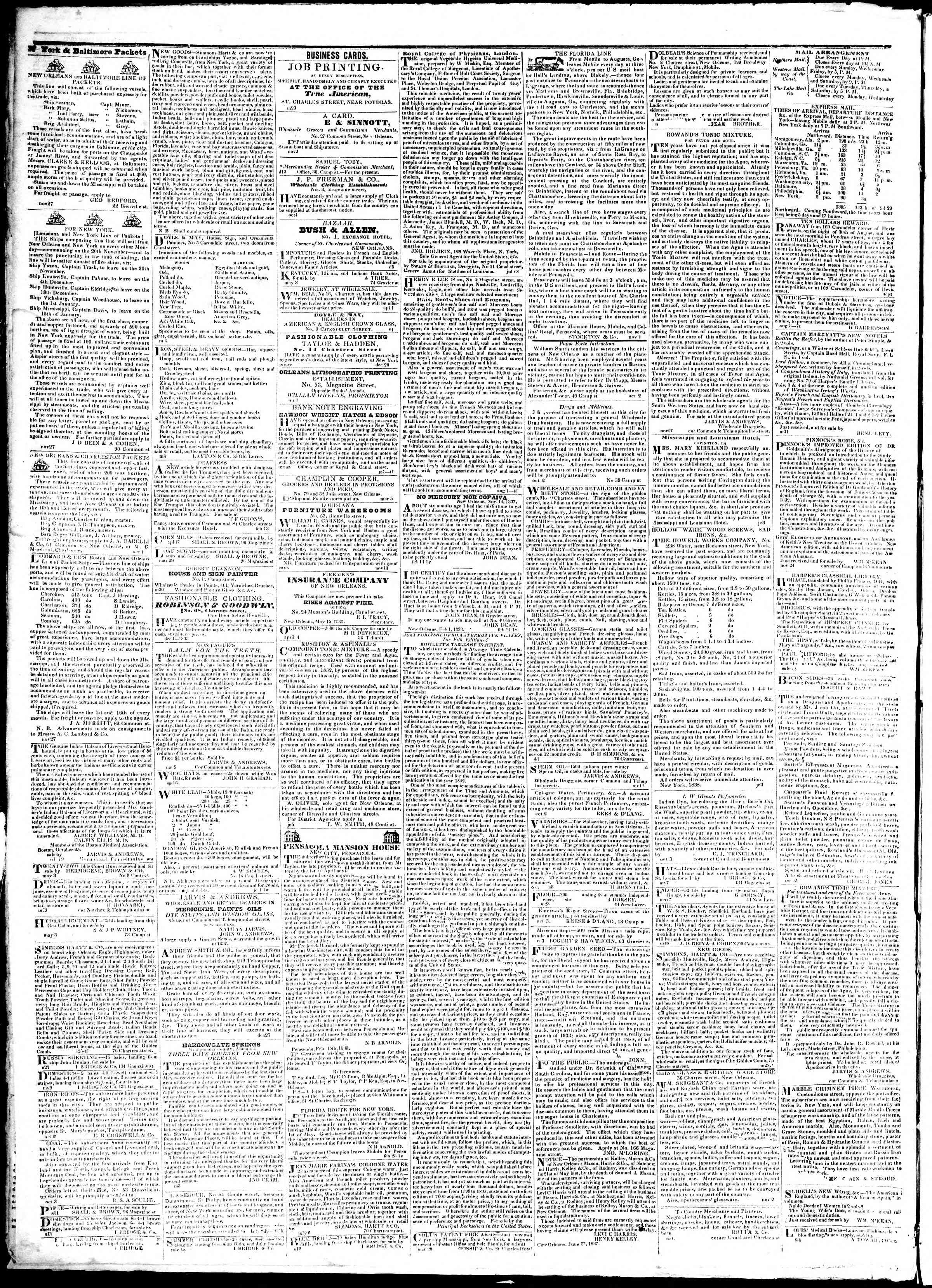 6 Temmuz 1839 tarihli True American Gazetesi Sayfa 4