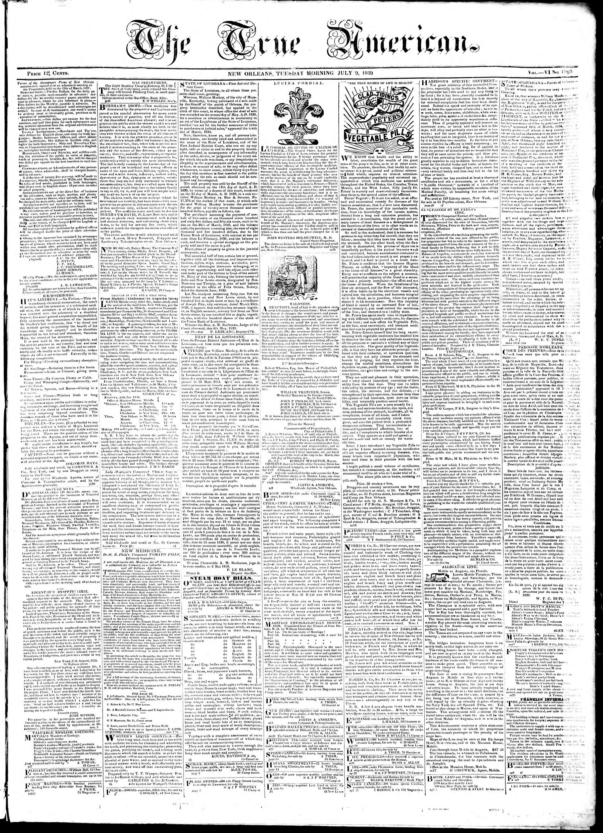 Newspaper of True American dated July 9, 1839 Page 1