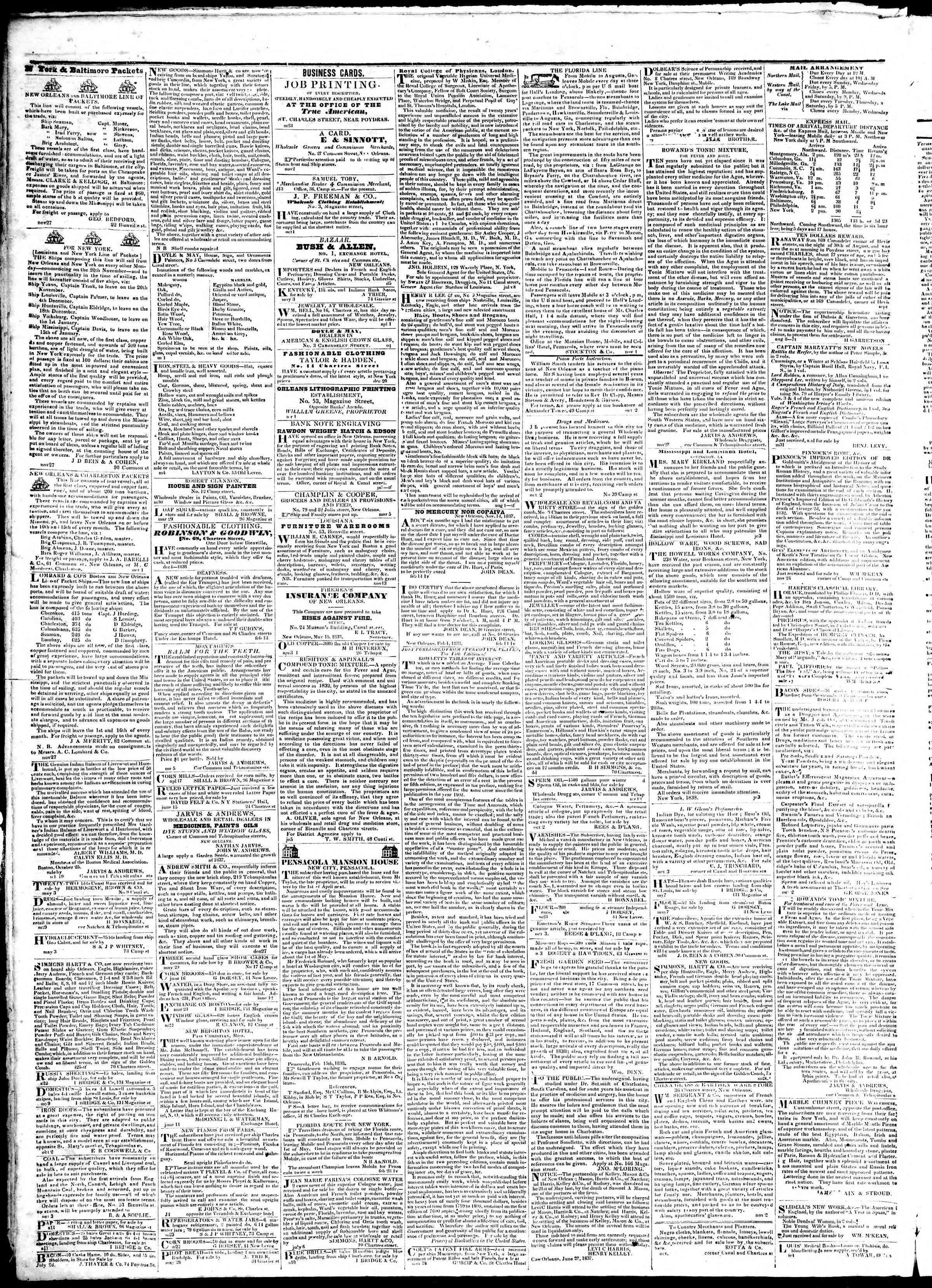 July 9, 1839 Tarihli True American Gazetesi Sayfa 4