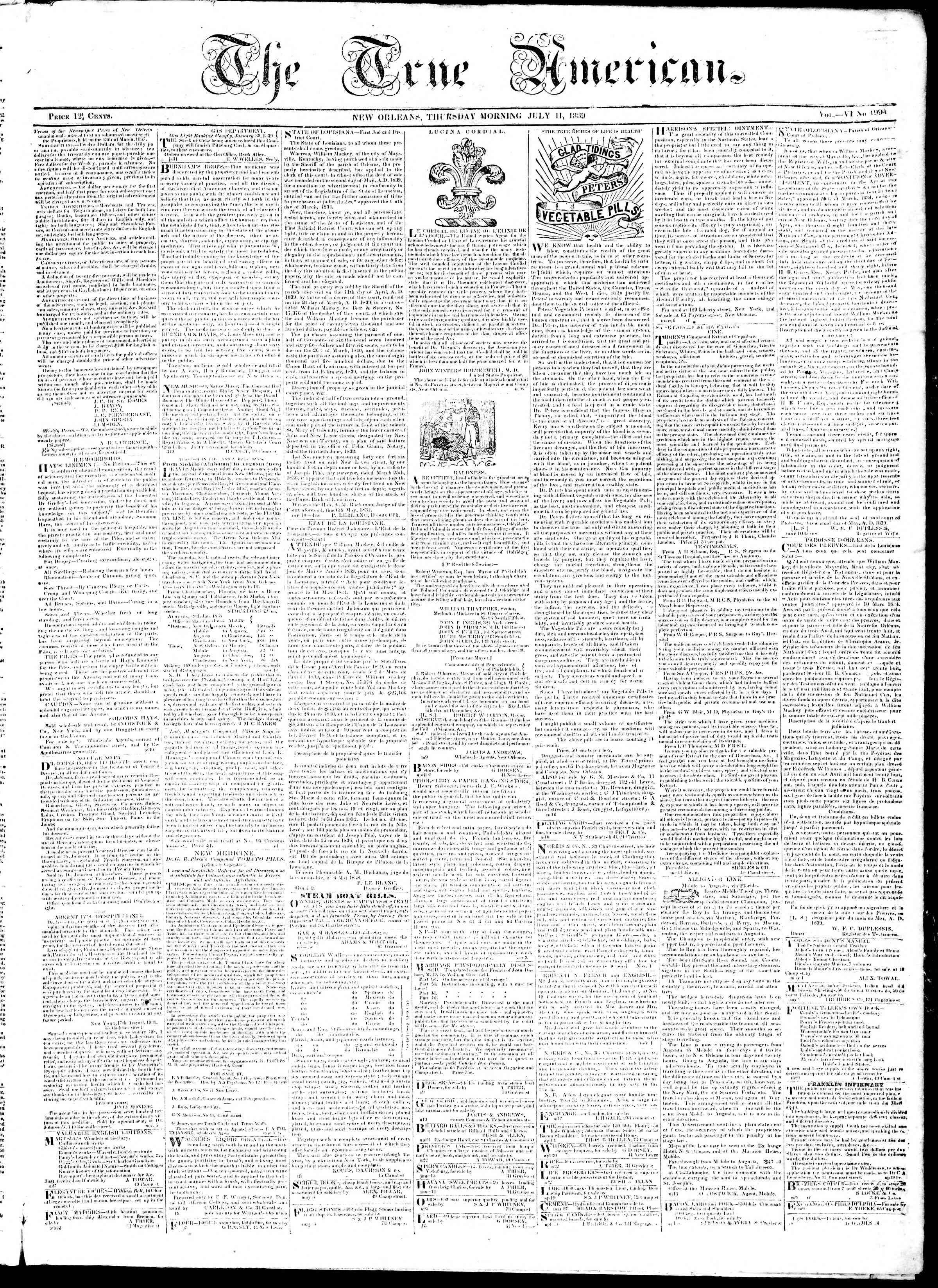 Newspaper of True American dated July 11, 1839 Page 1