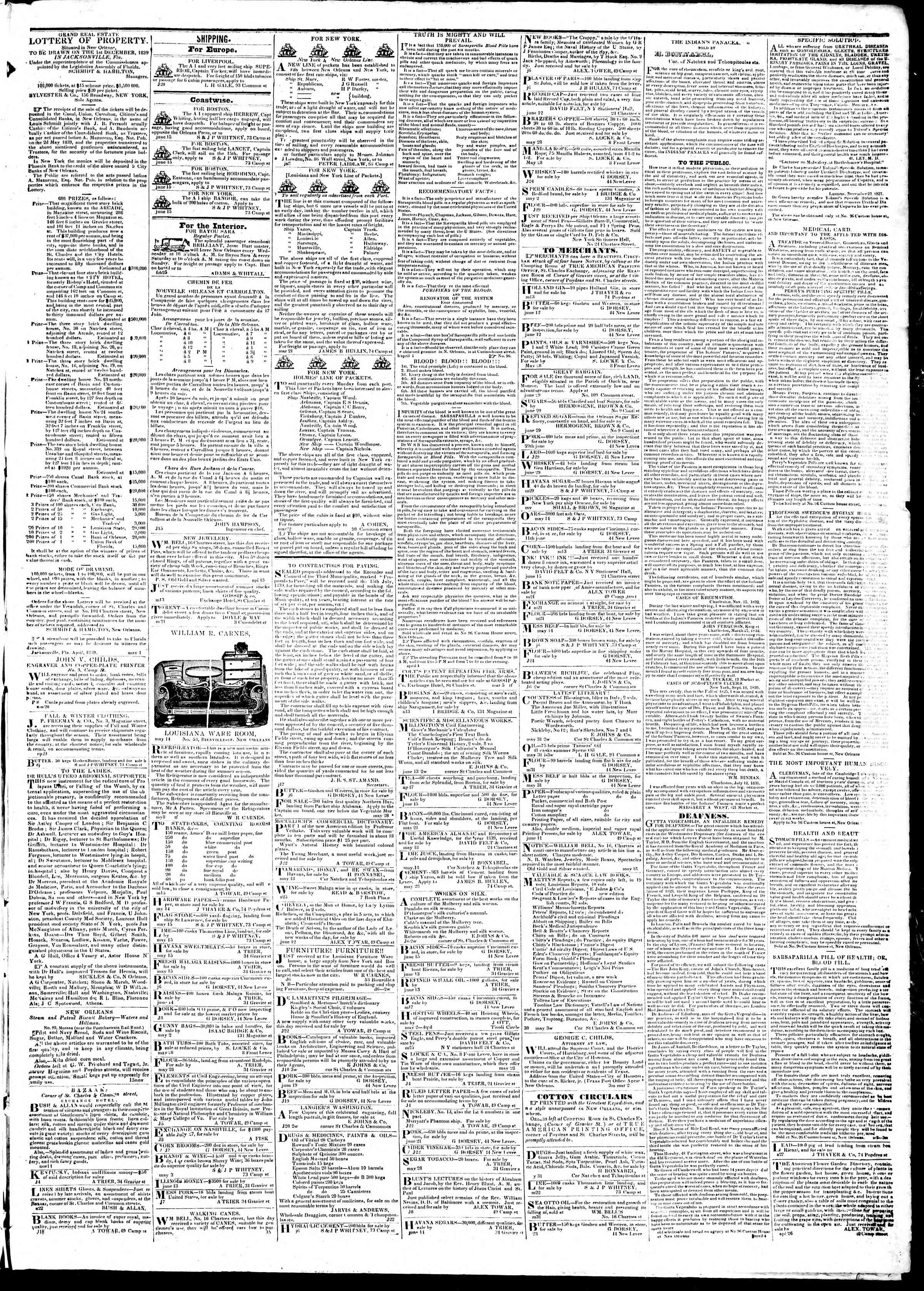 Newspaper of True American dated July 11, 1839 Page 3