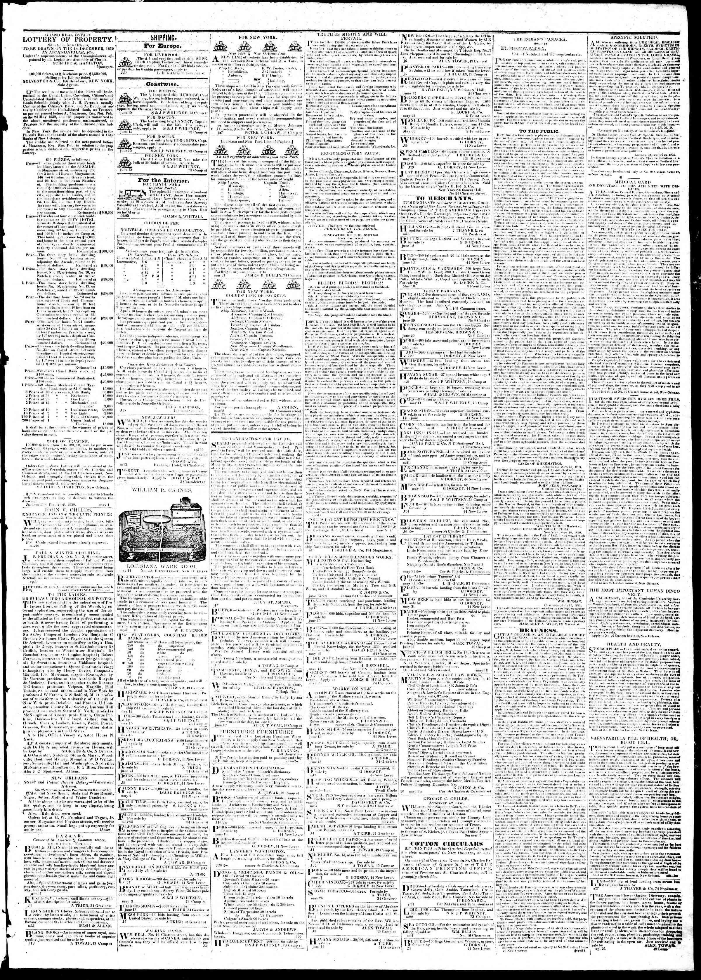 13 Temmuz 1839 Tarihli True American Gazetesi Sayfa 3