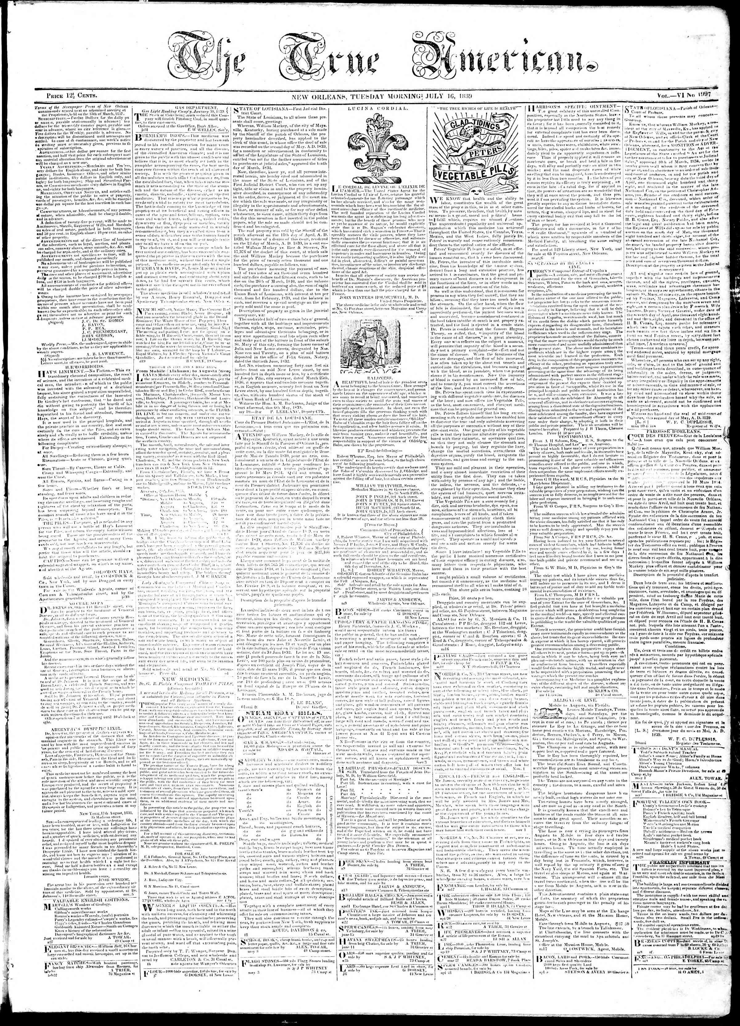 July 16, 1839 Tarihli True American Gazetesi Sayfa 1