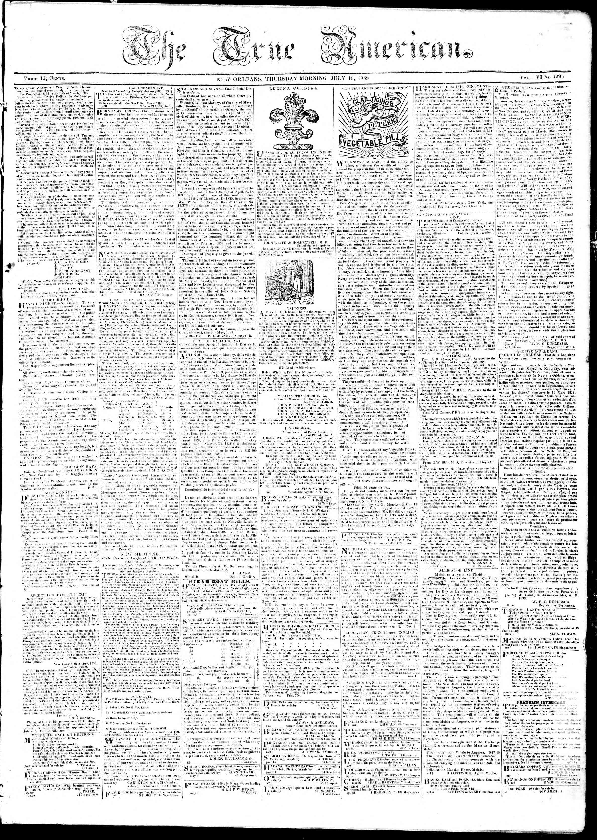 July 18, 1839 Tarihli True American Gazetesi Sayfa 1