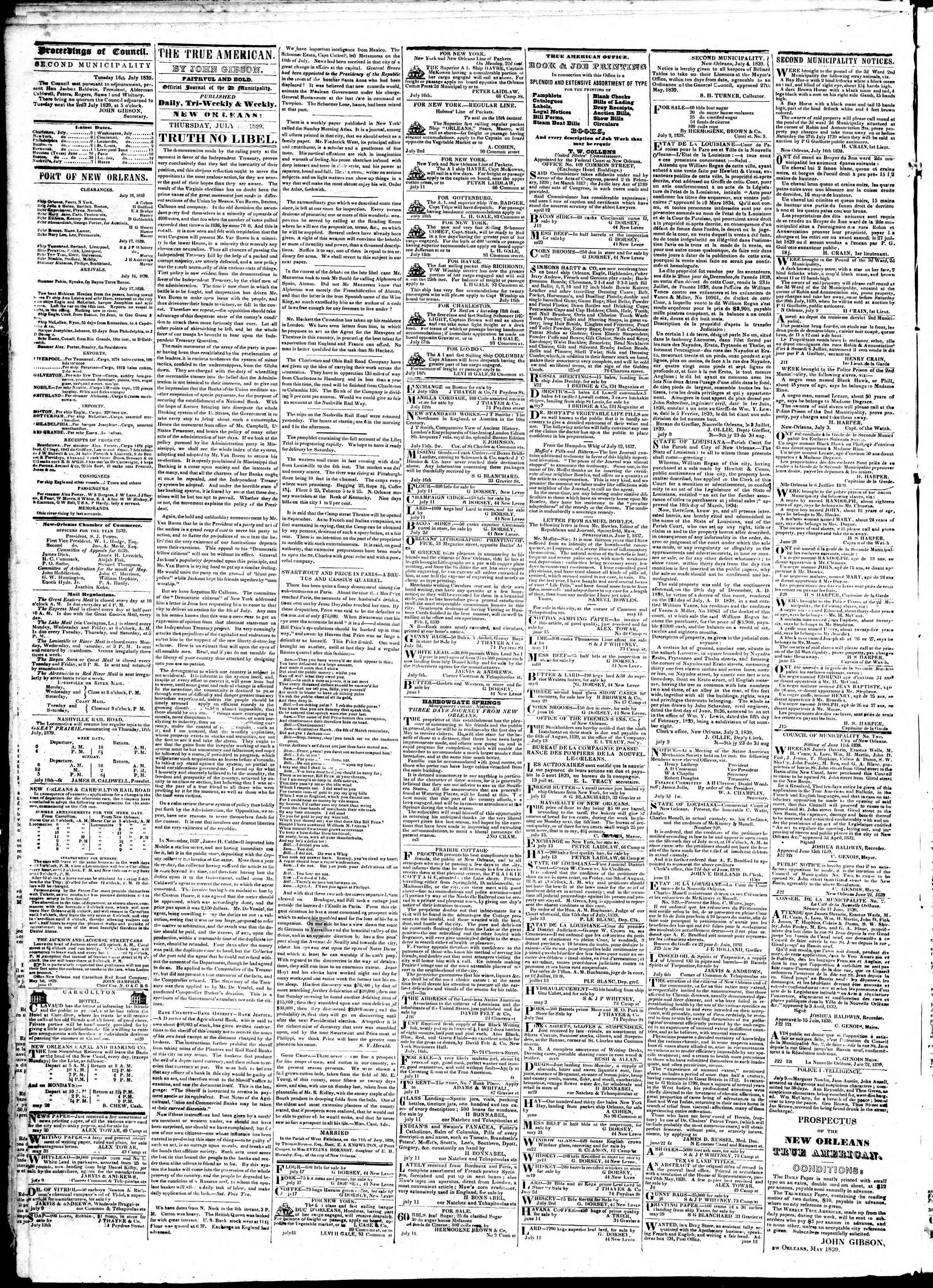 July 18, 1839 Tarihli True American Gazetesi Sayfa 2