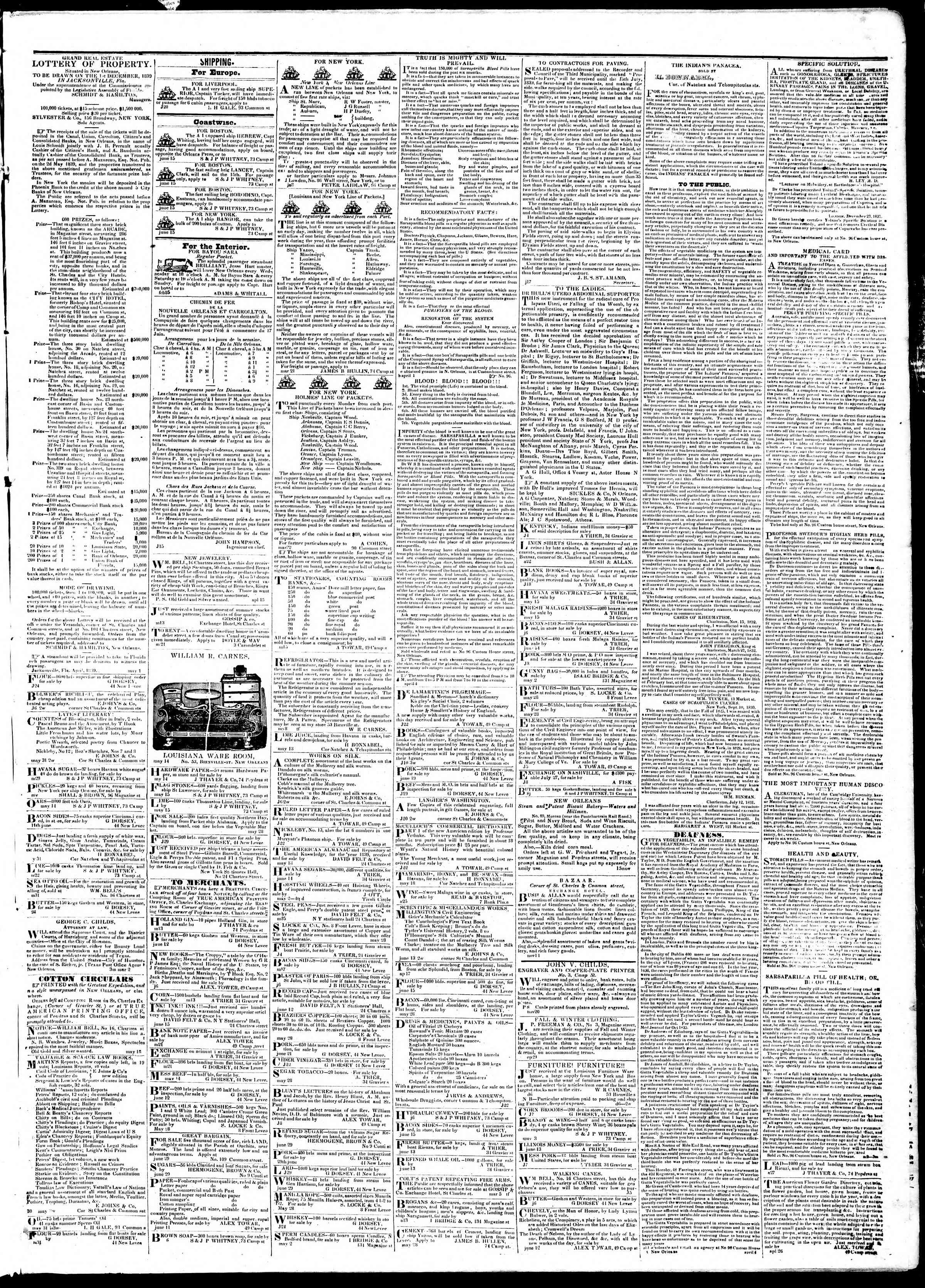 Newspaper of True American dated July 18, 1839 Page 3