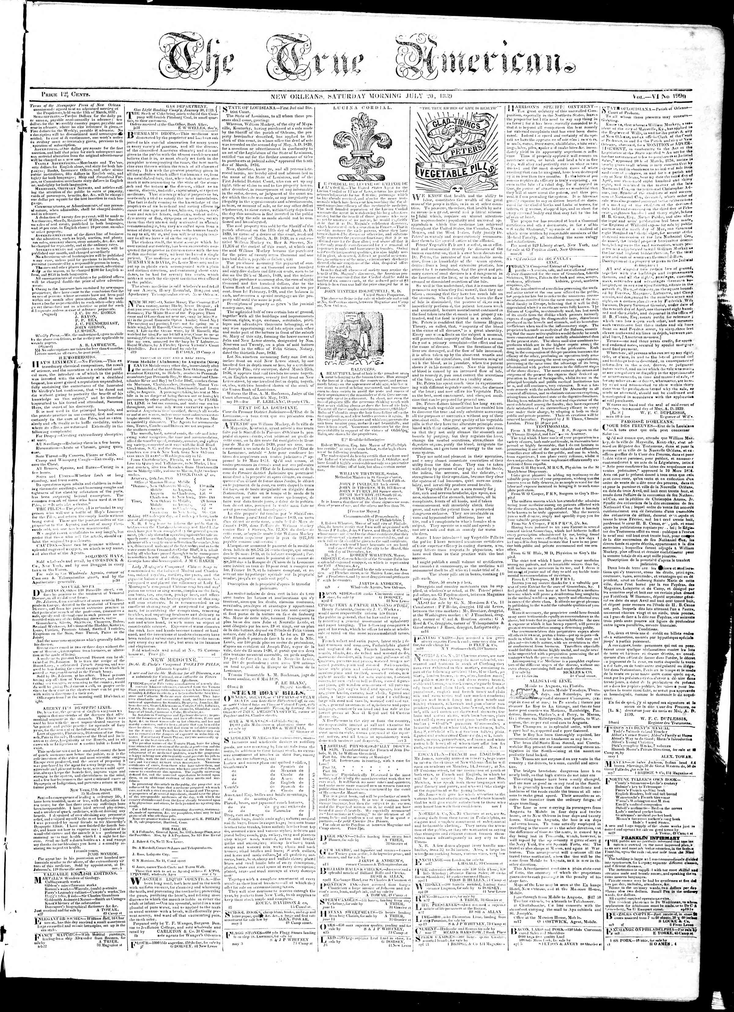 Newspaper of True American dated July 20, 1839 Page 1