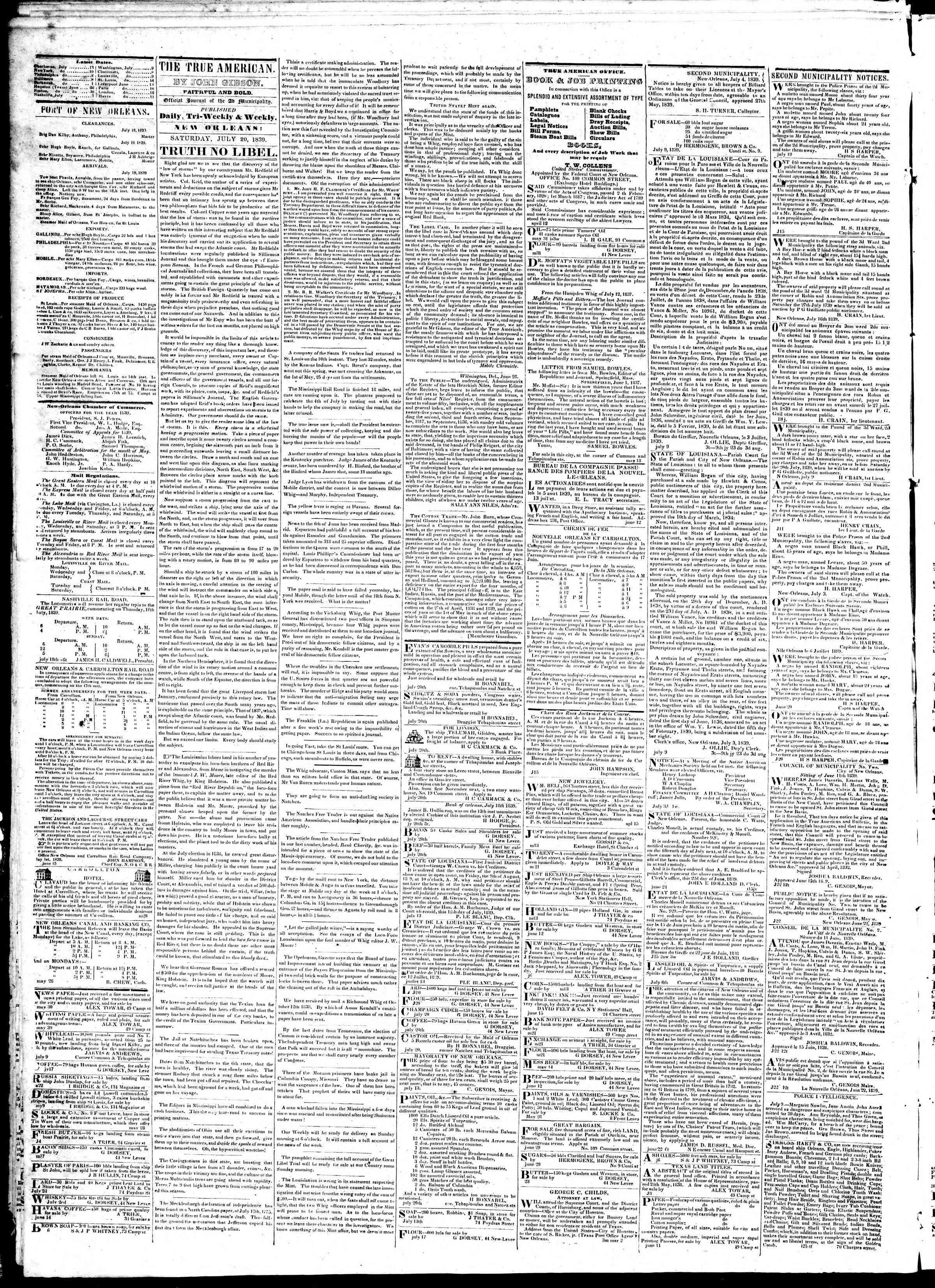 July 20, 1839 Tarihli True American Gazetesi Sayfa 2