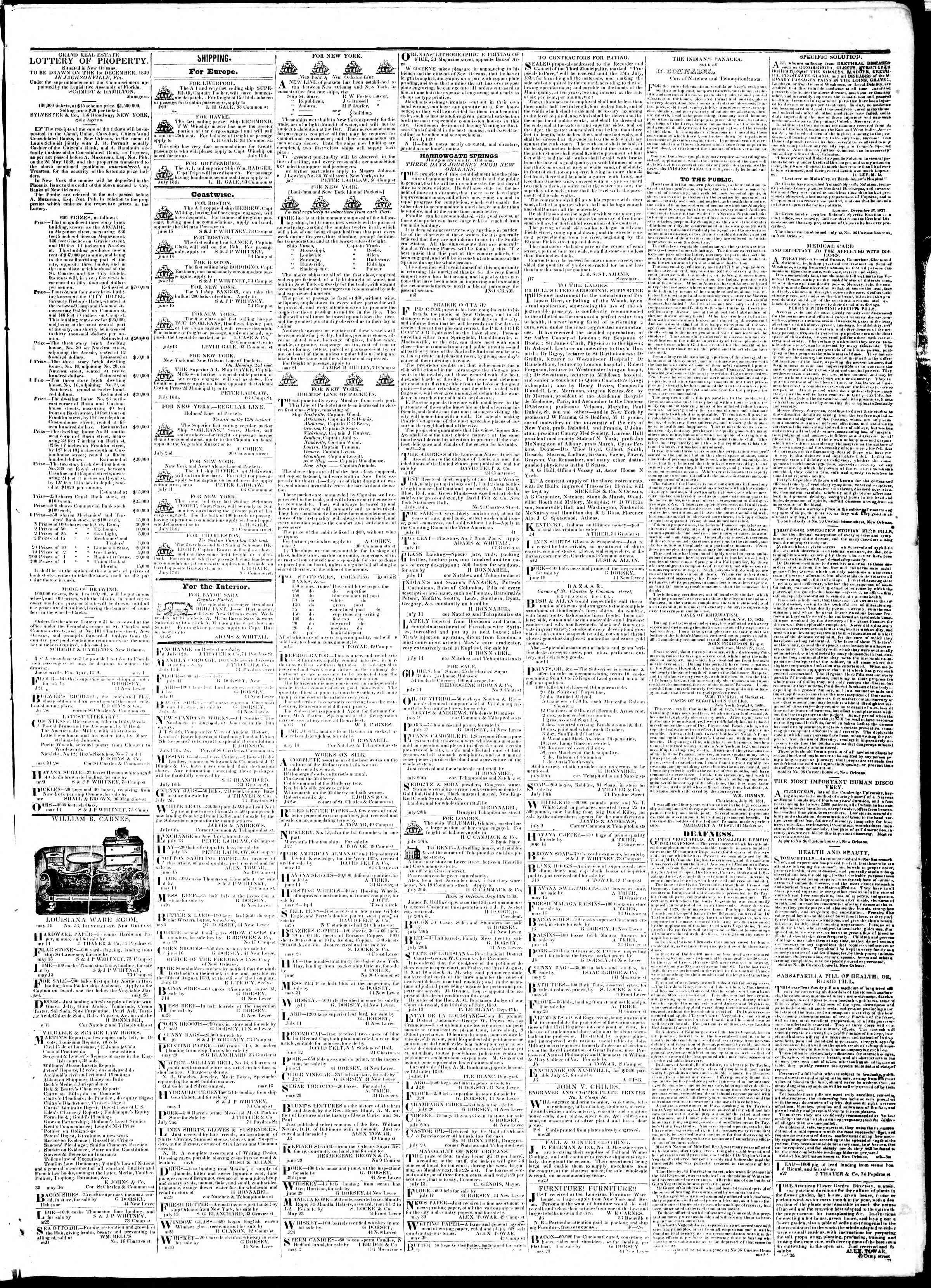 July 23, 1839 Tarihli True American Gazetesi Sayfa 3