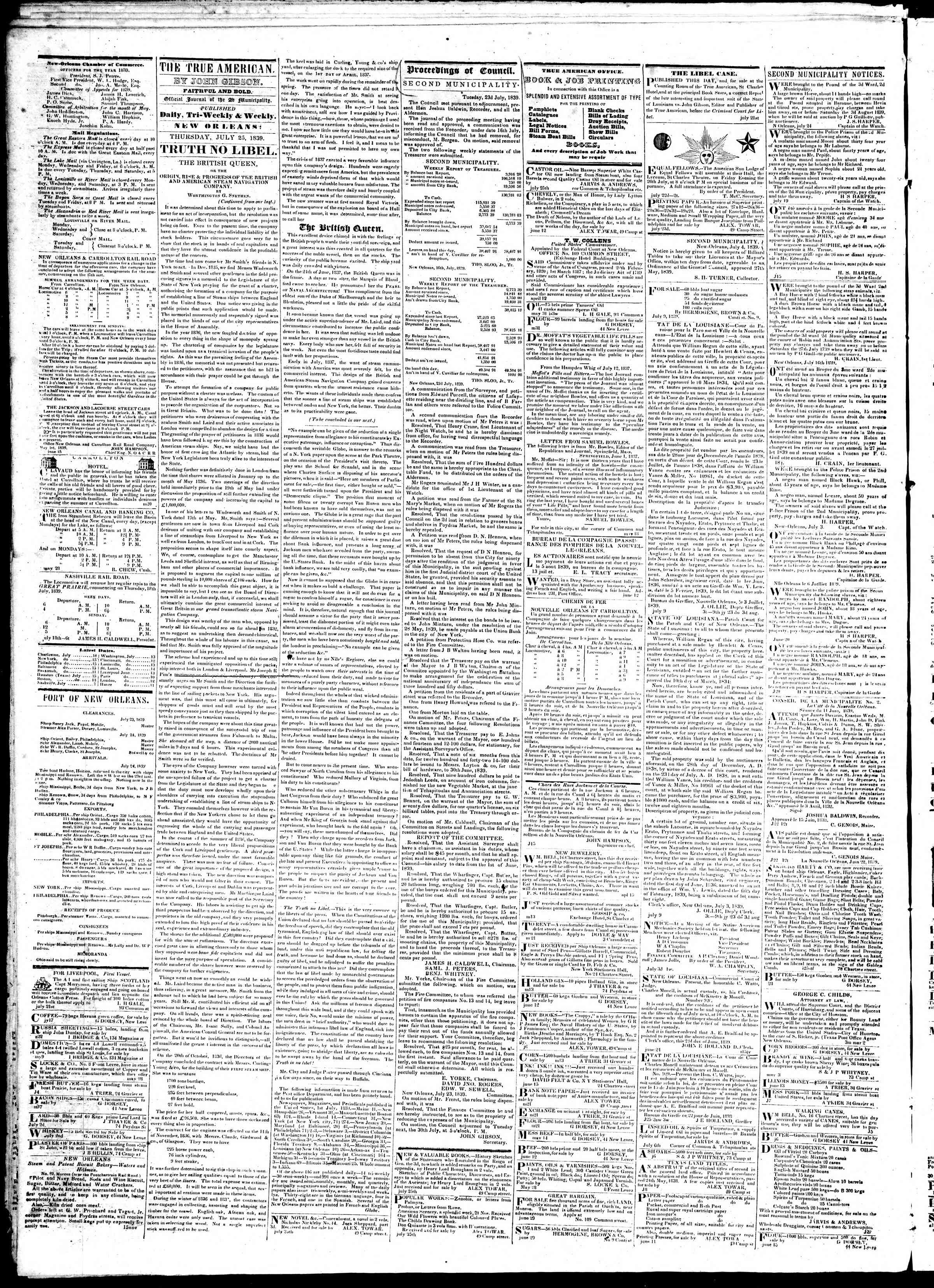 July 25, 1839 Tarihli True American Gazetesi Sayfa 2
