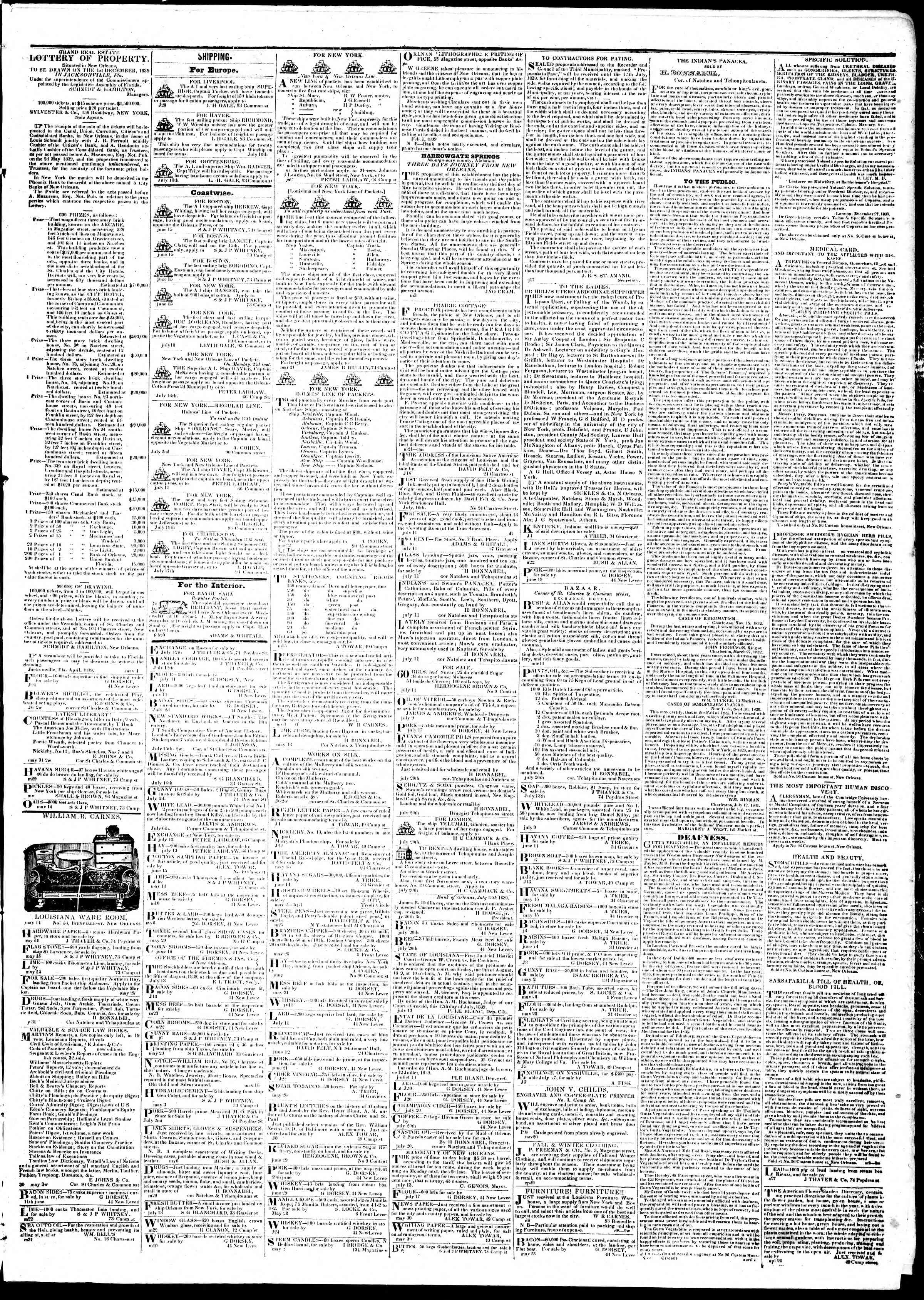 Newspaper of True American dated July 25, 1839 Page 3