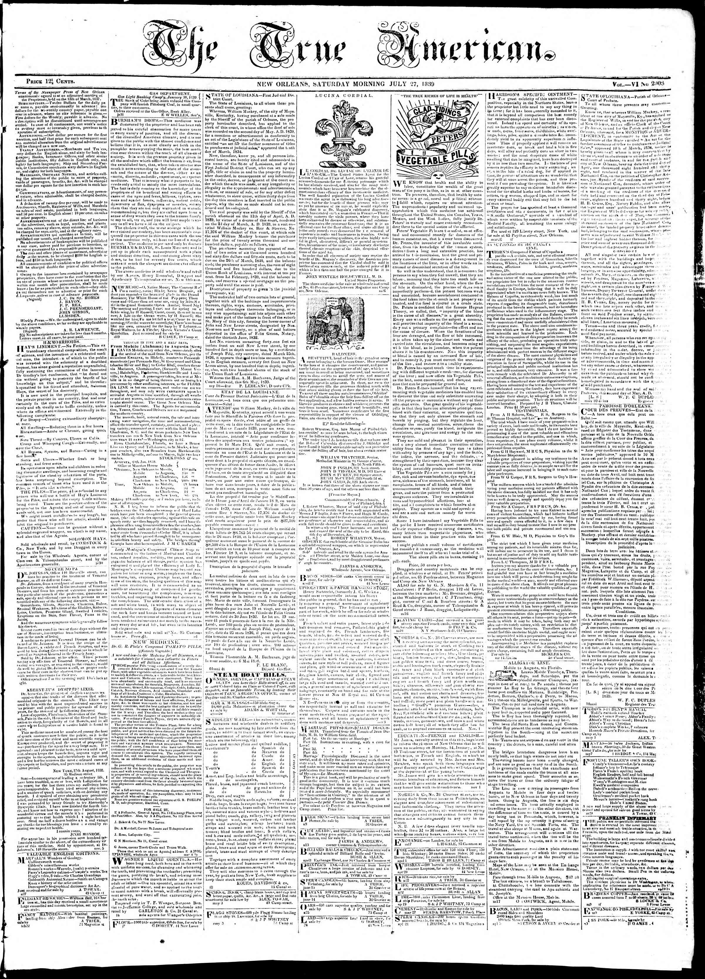 July 27, 1839 Tarihli True American Gazetesi Sayfa 1