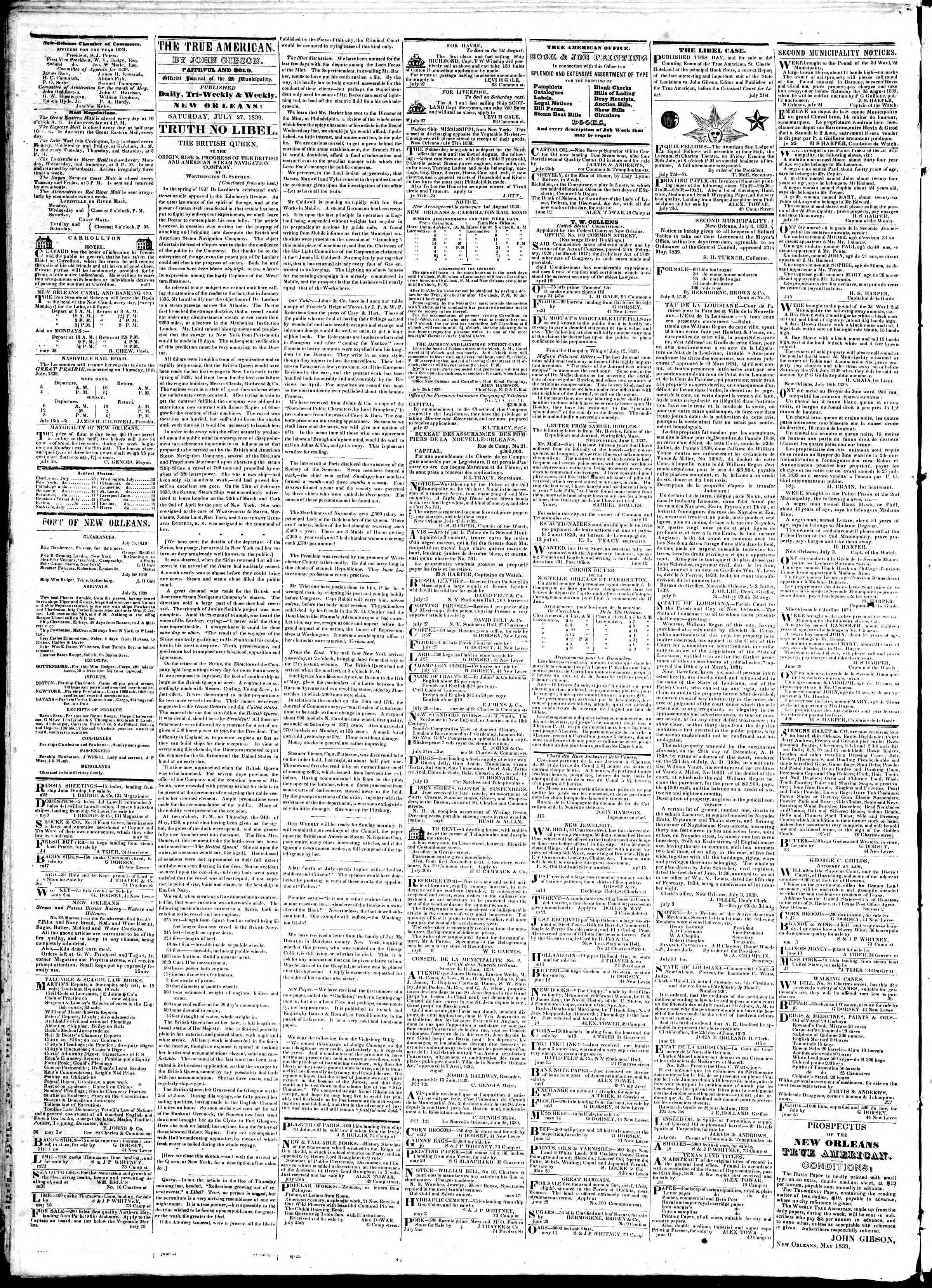 July 27, 1839 Tarihli True American Gazetesi Sayfa 2