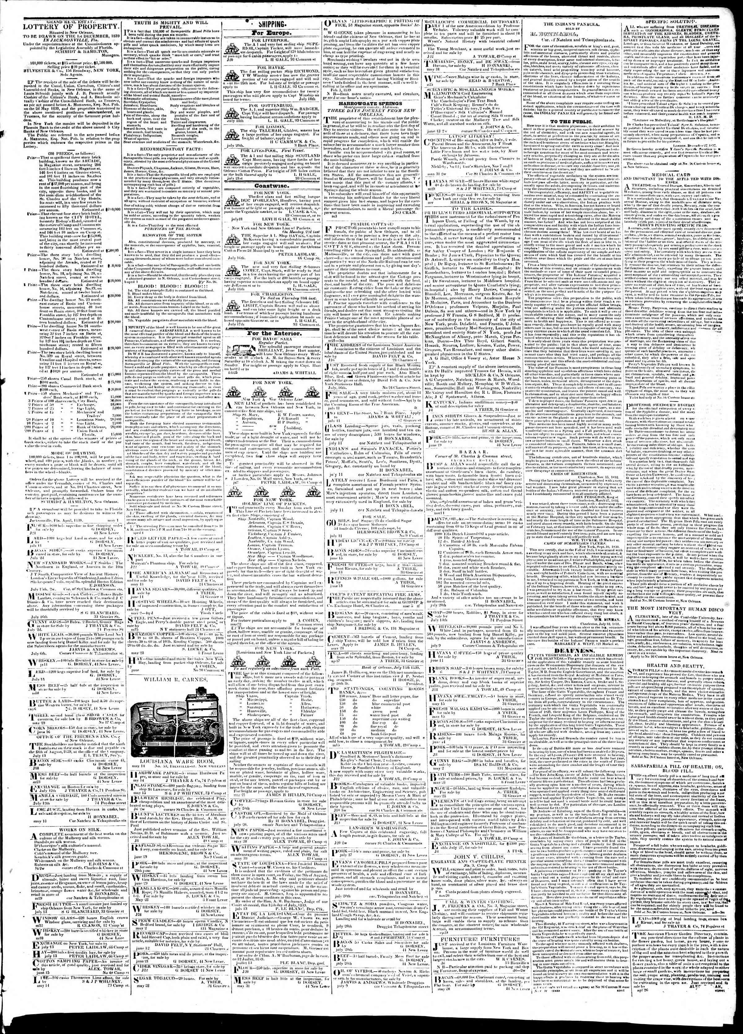 Newspaper of True American dated July 27, 1839 Page 3