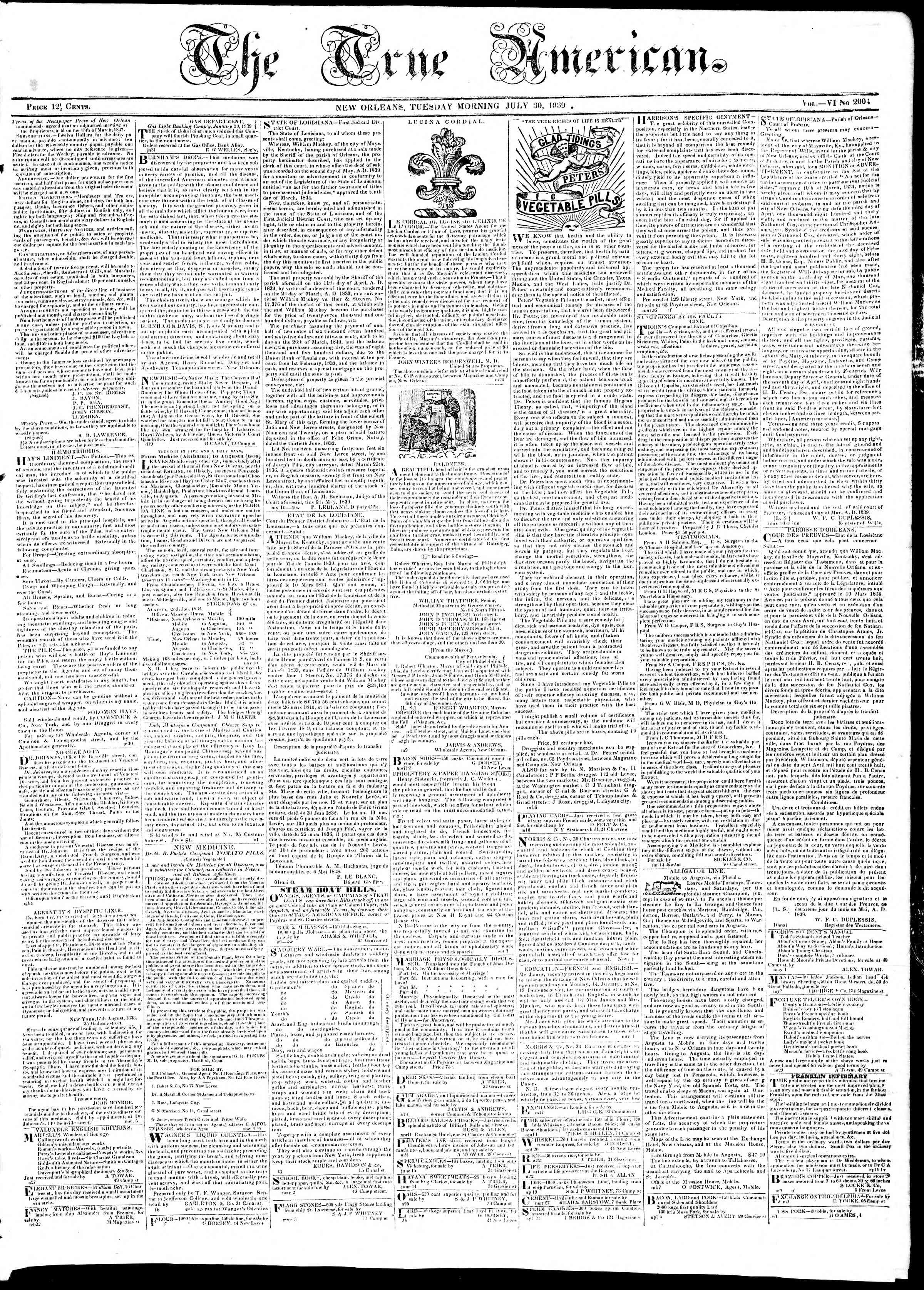 Newspaper of True American dated July 30, 1839 Page 1