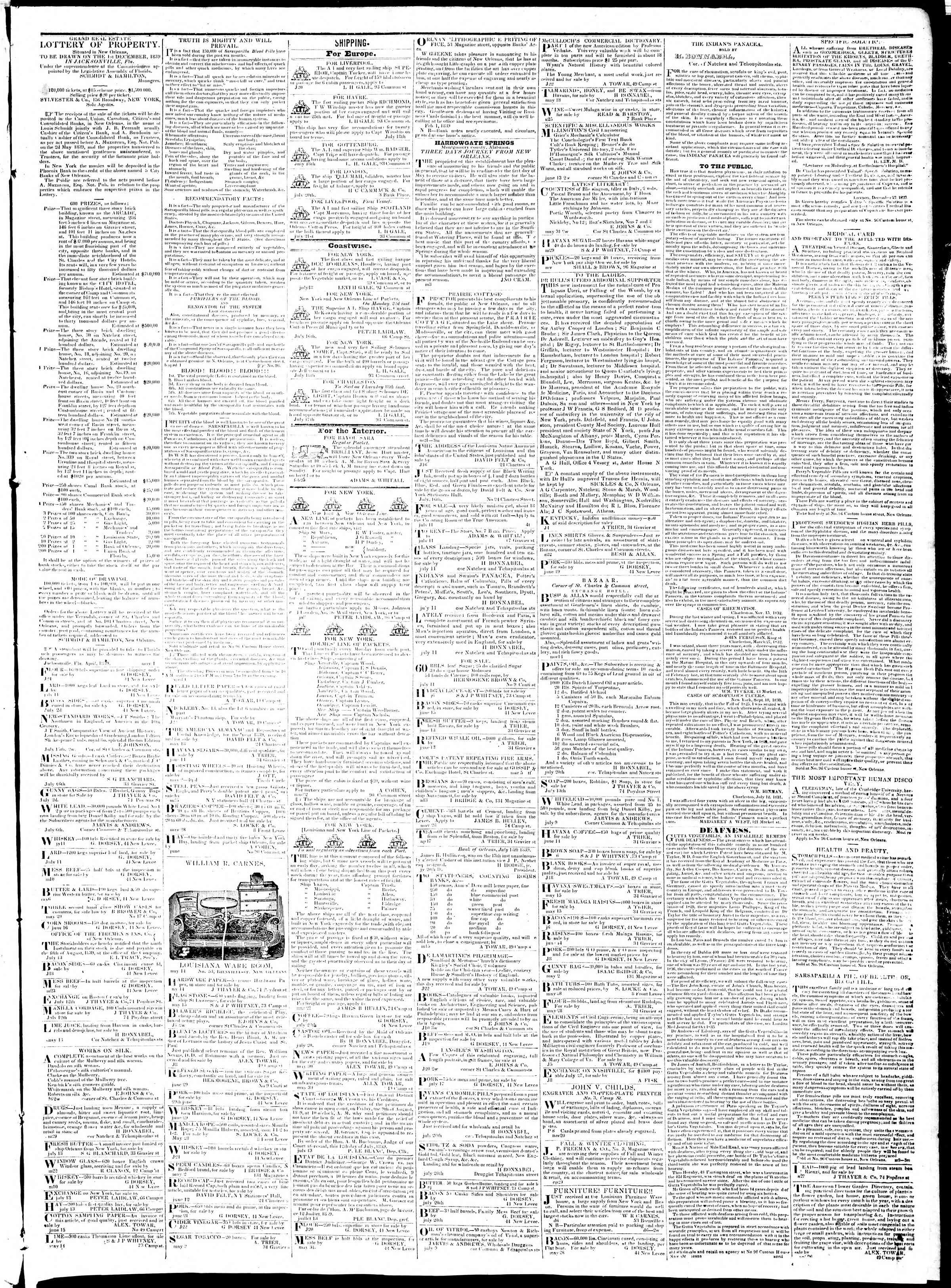 30 Temmuz 1839 tarihli True American Gazetesi Sayfa 3