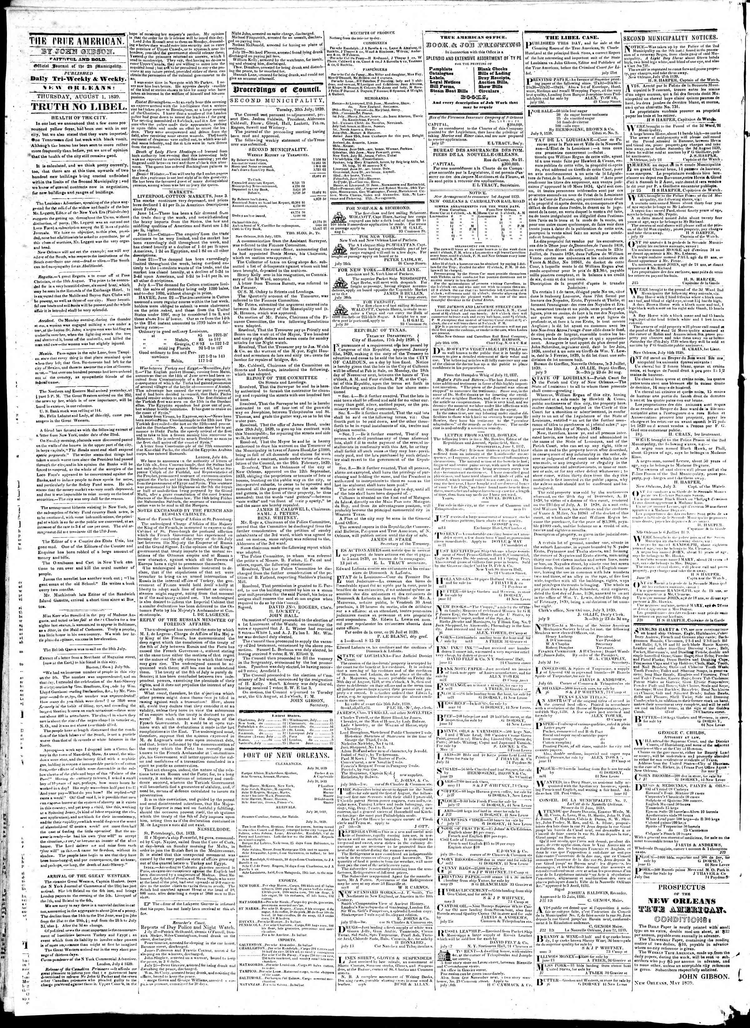 August 1, 1839 Tarihli True American Gazetesi Sayfa 2