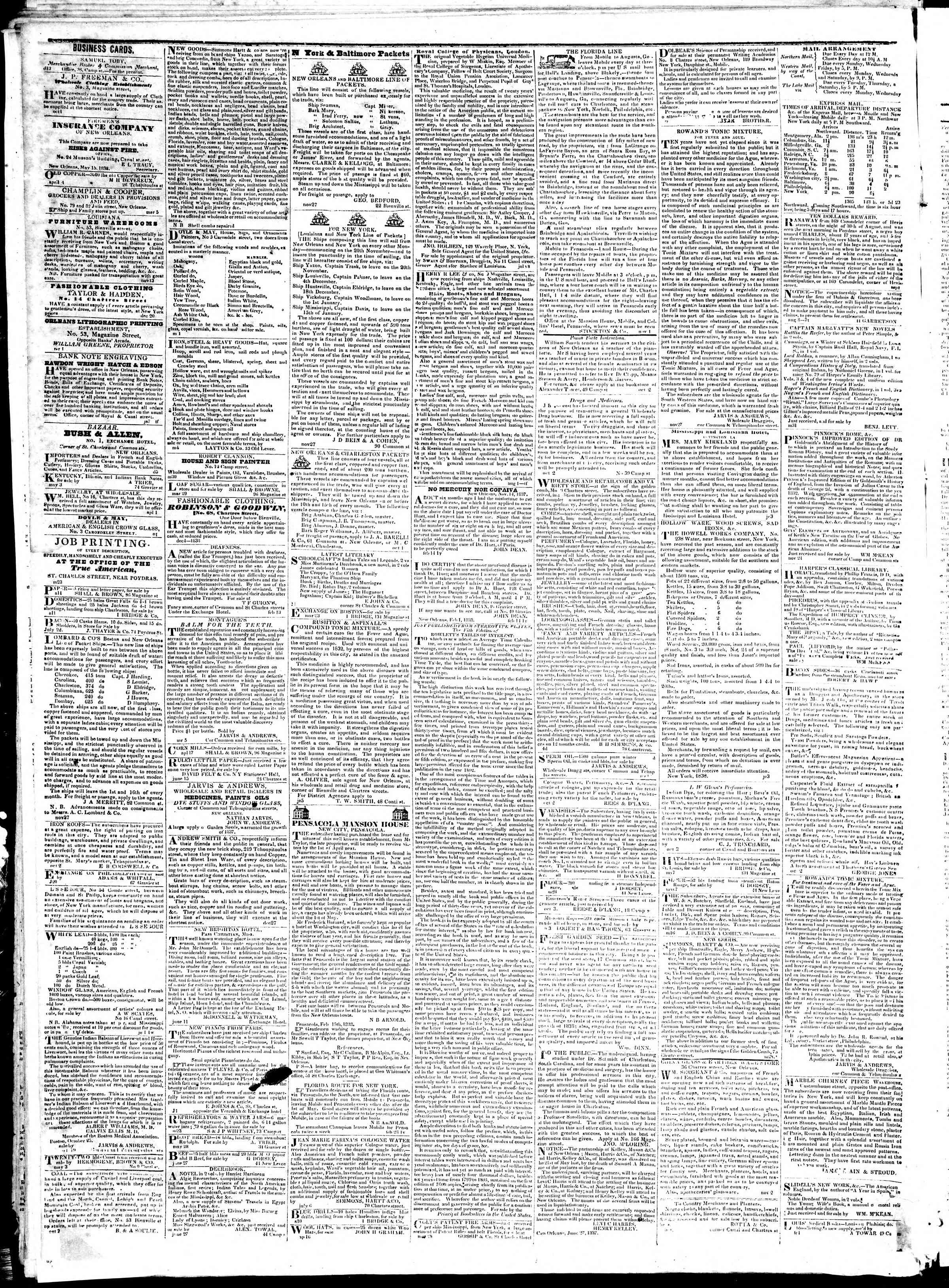 August 1, 1839 Tarihli True American Gazetesi Sayfa 4