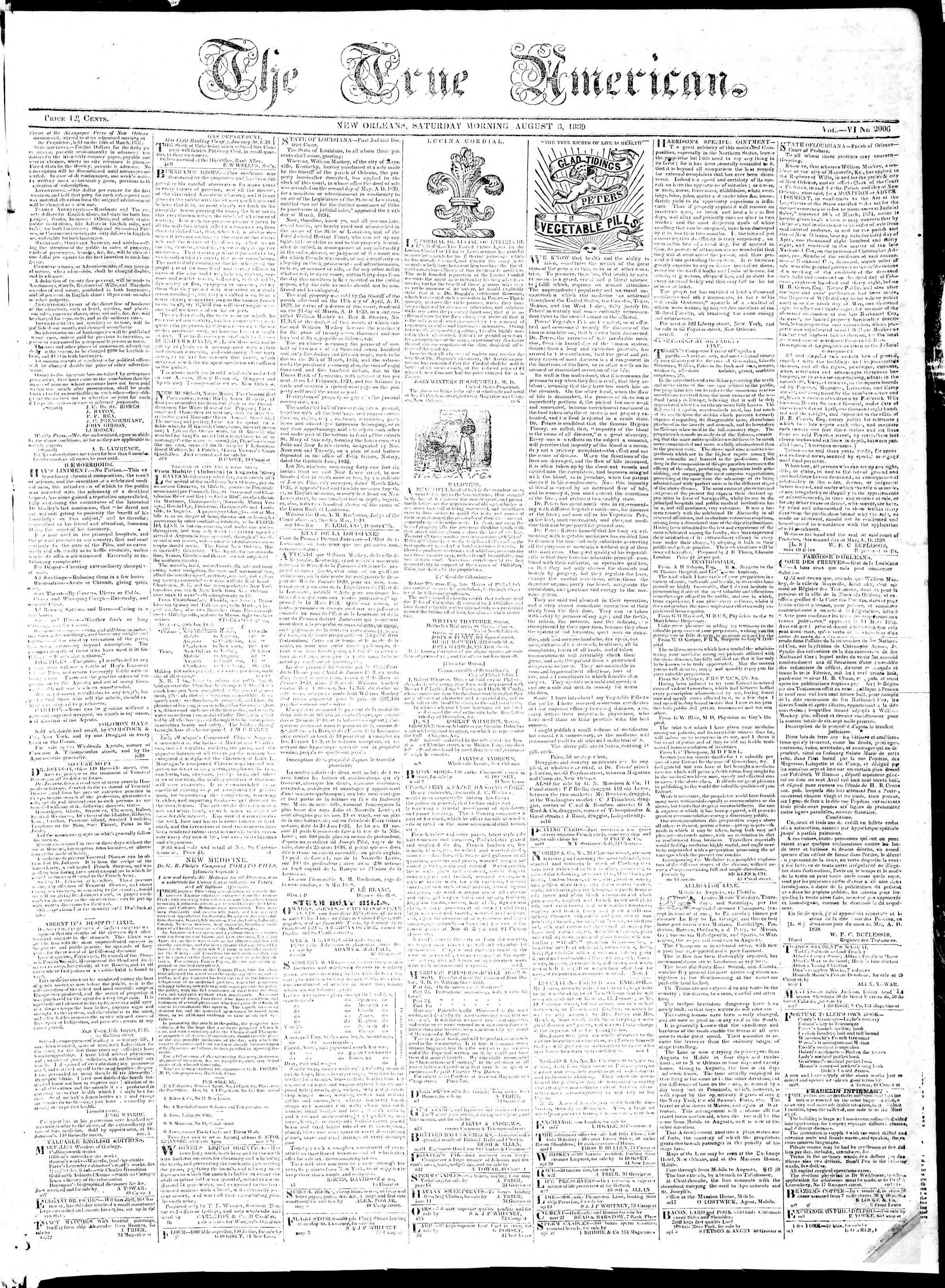 August 3, 1839 Tarihli True American Gazetesi Sayfa 1