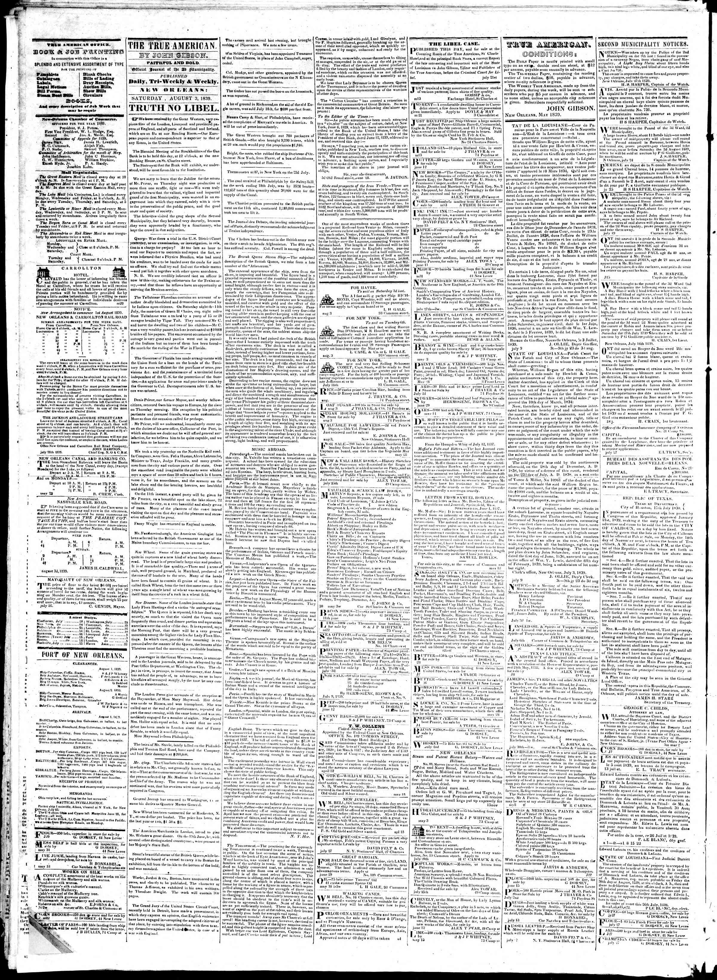 Newspaper of True American dated August 3, 1839 Page 2