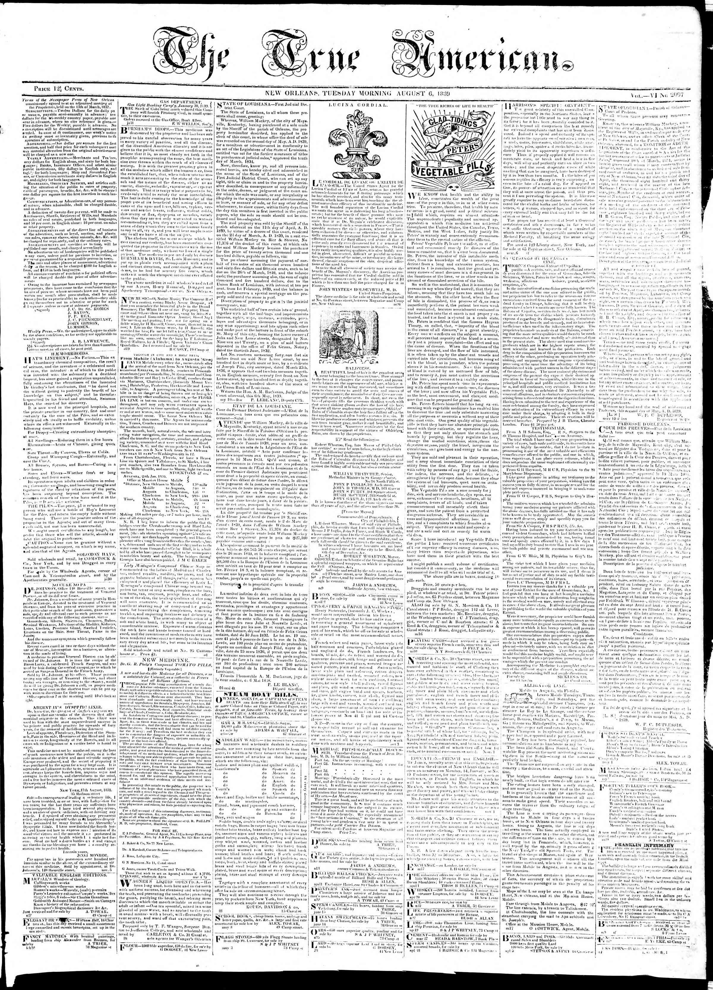 August 6, 1839 Tarihli True American Gazetesi Sayfa 1