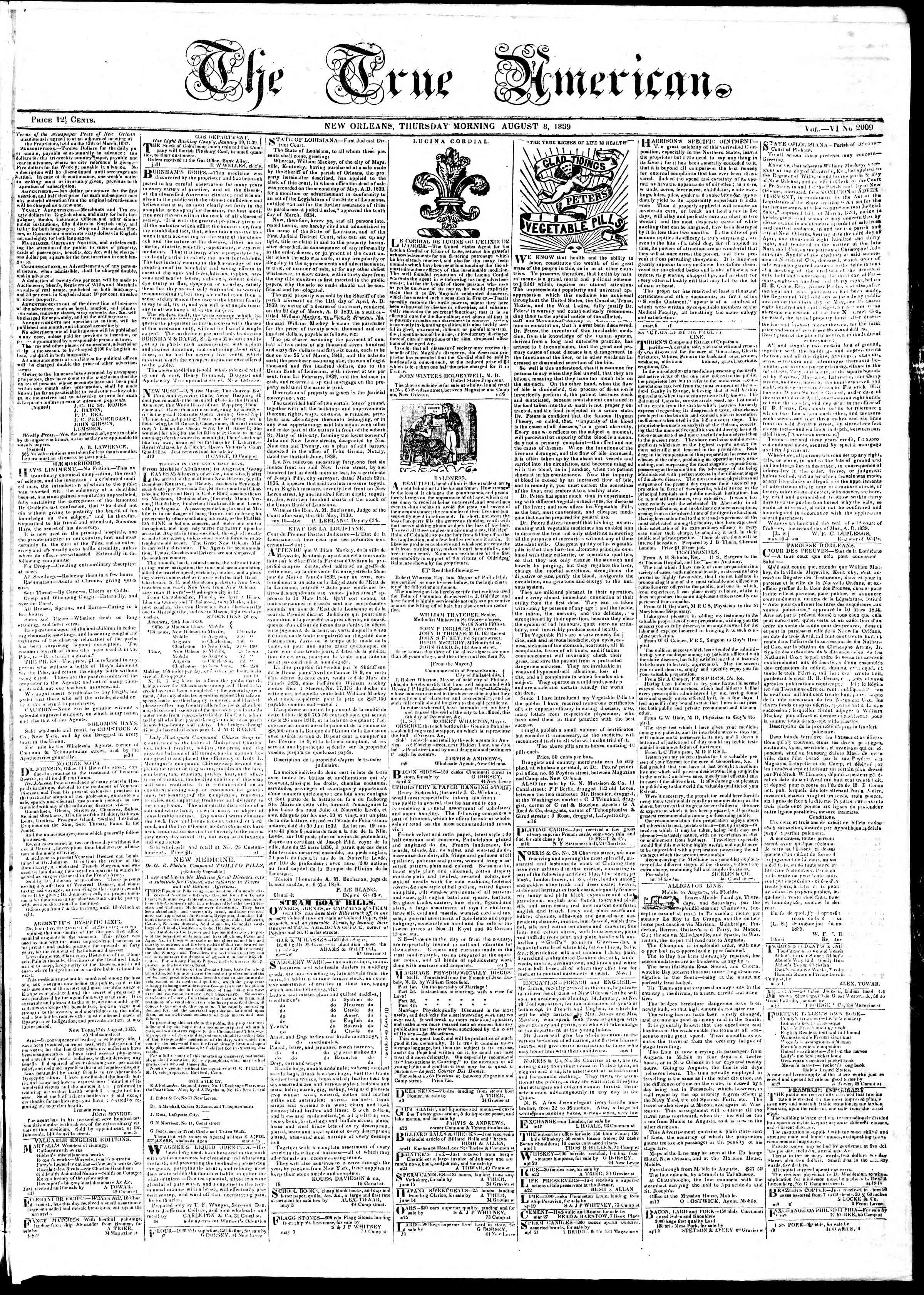 Newspaper of True American dated August 8, 1839 Page 1