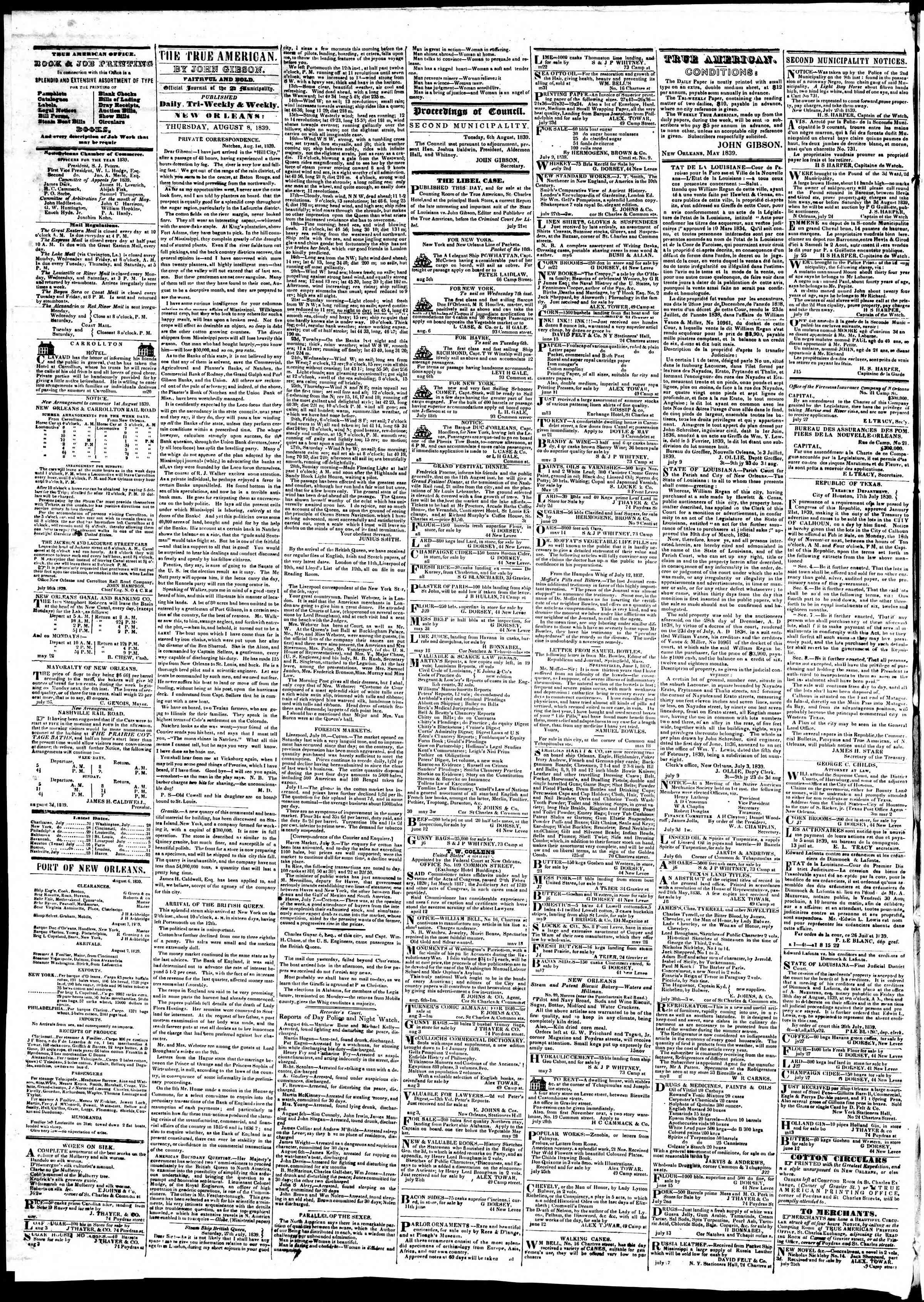 August 8, 1839 Tarihli True American Gazetesi Sayfa 2