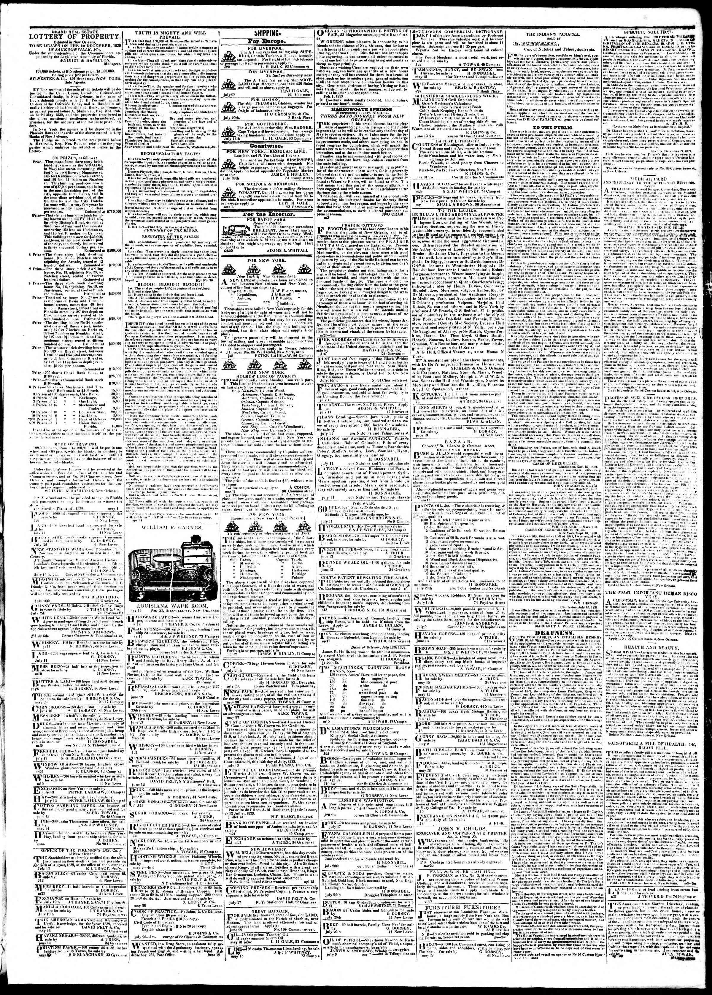 Newspaper of True American dated August 8, 1839 Page 3