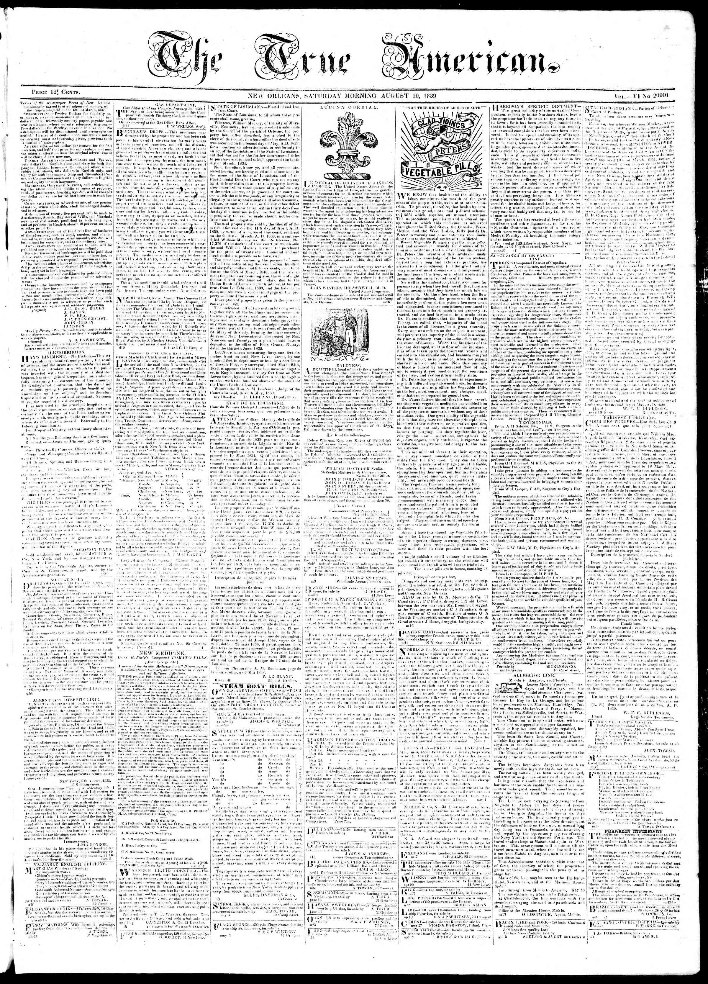 August 10, 1839 Tarihli True American Gazetesi Sayfa 1