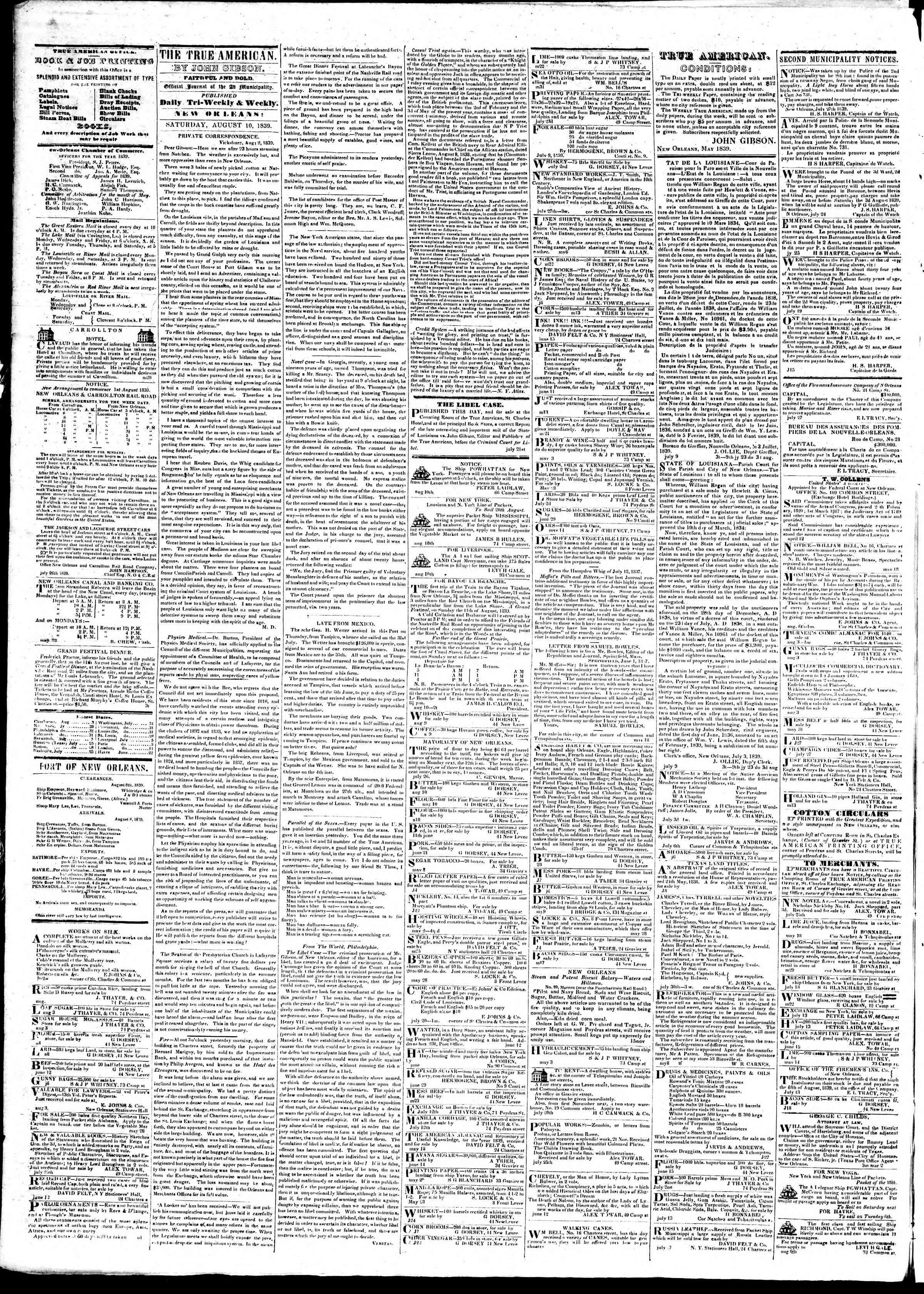 August 10, 1839 Tarihli True American Gazetesi Sayfa 2