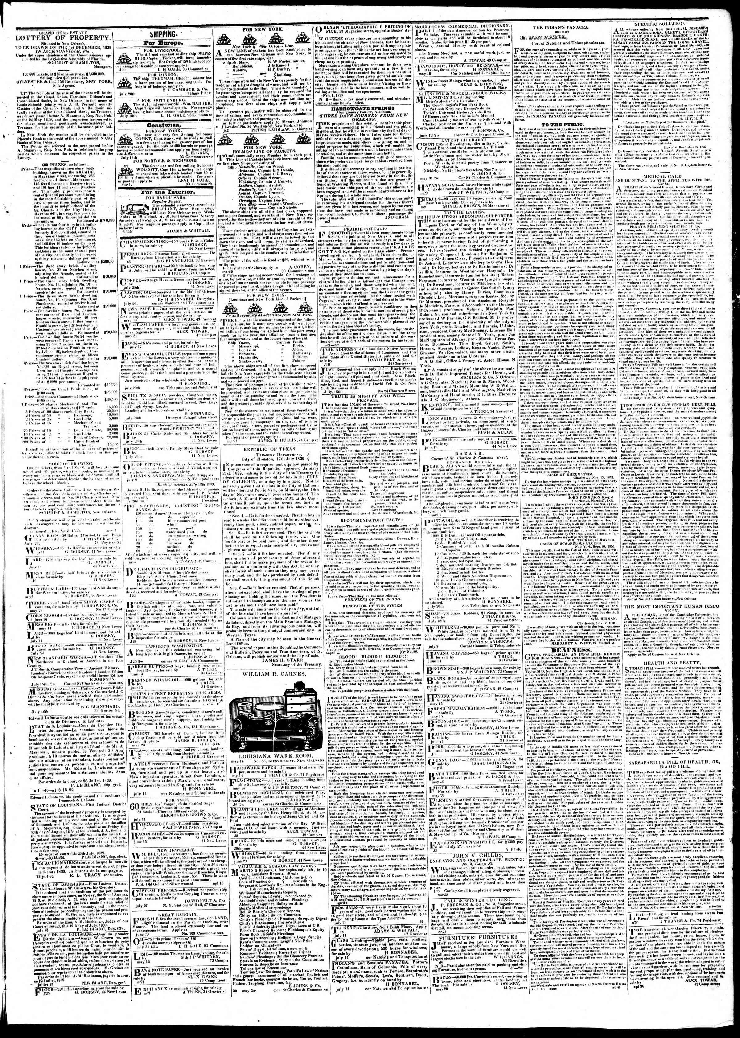 Newspaper of True American dated August 10, 1839 Page 3