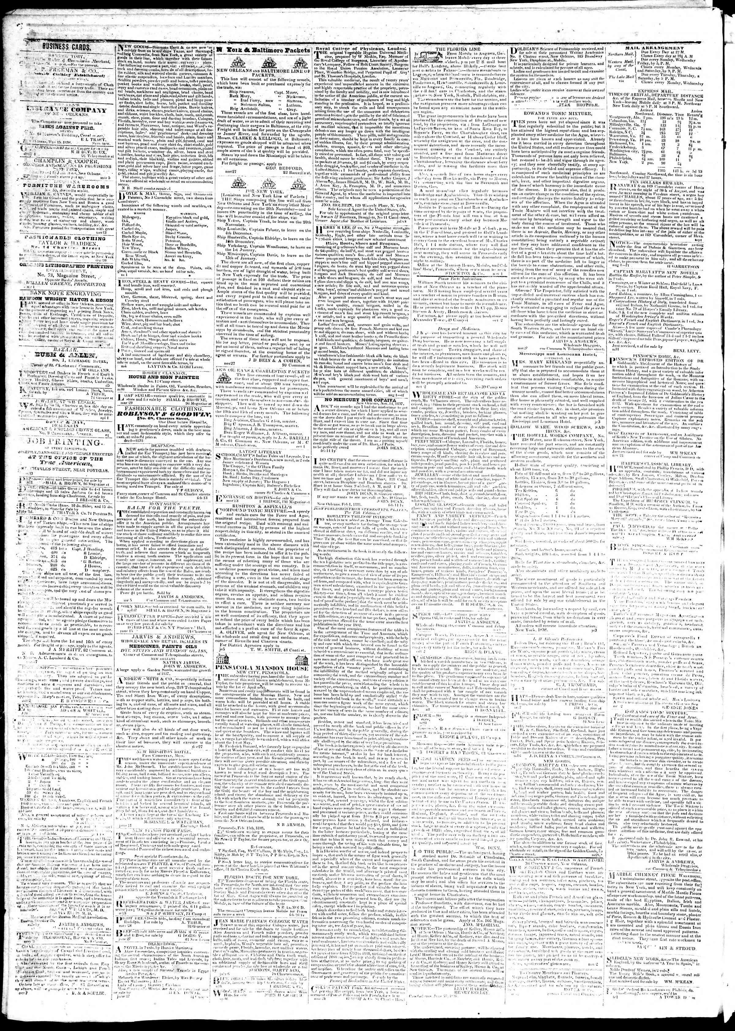 August 10, 1839 Tarihli True American Gazetesi Sayfa 4
