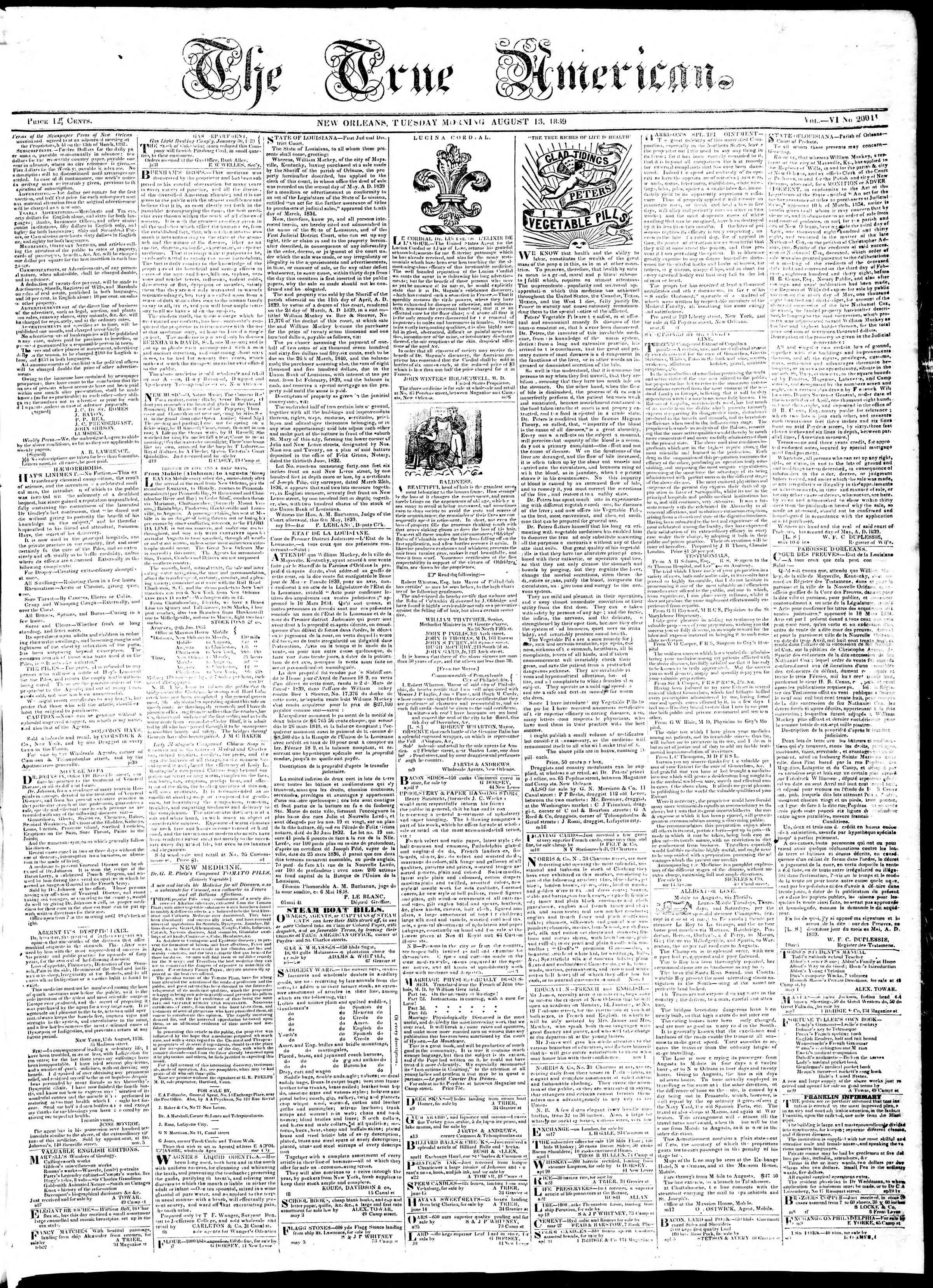 August 13, 1839 Tarihli True American Gazetesi Sayfa 1
