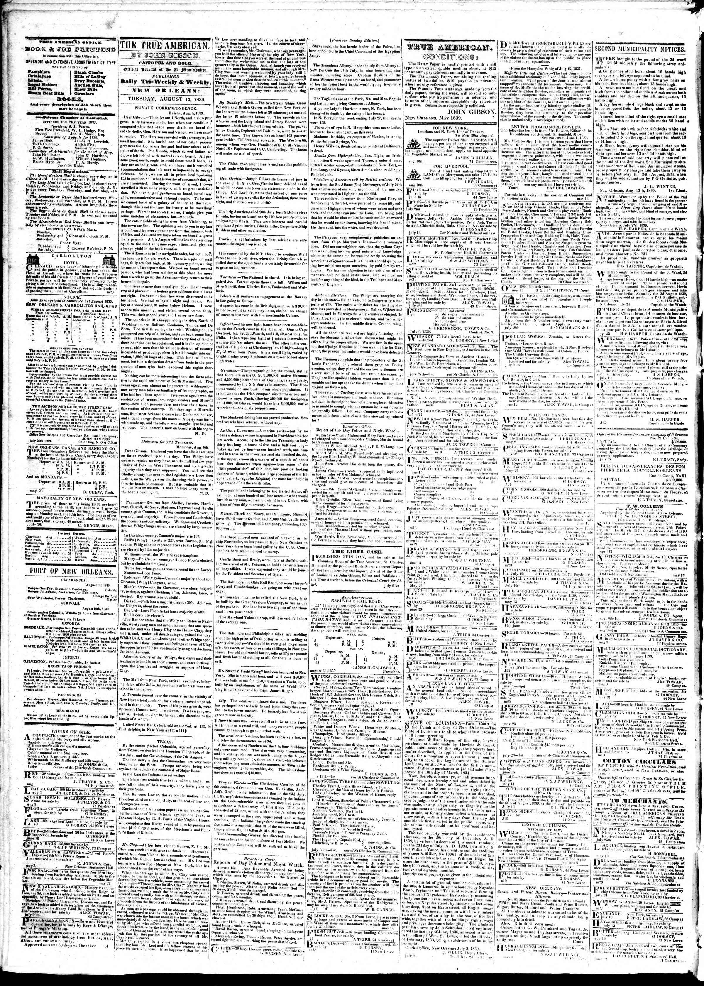 Newspaper of True American dated August 13, 1839 Page 2