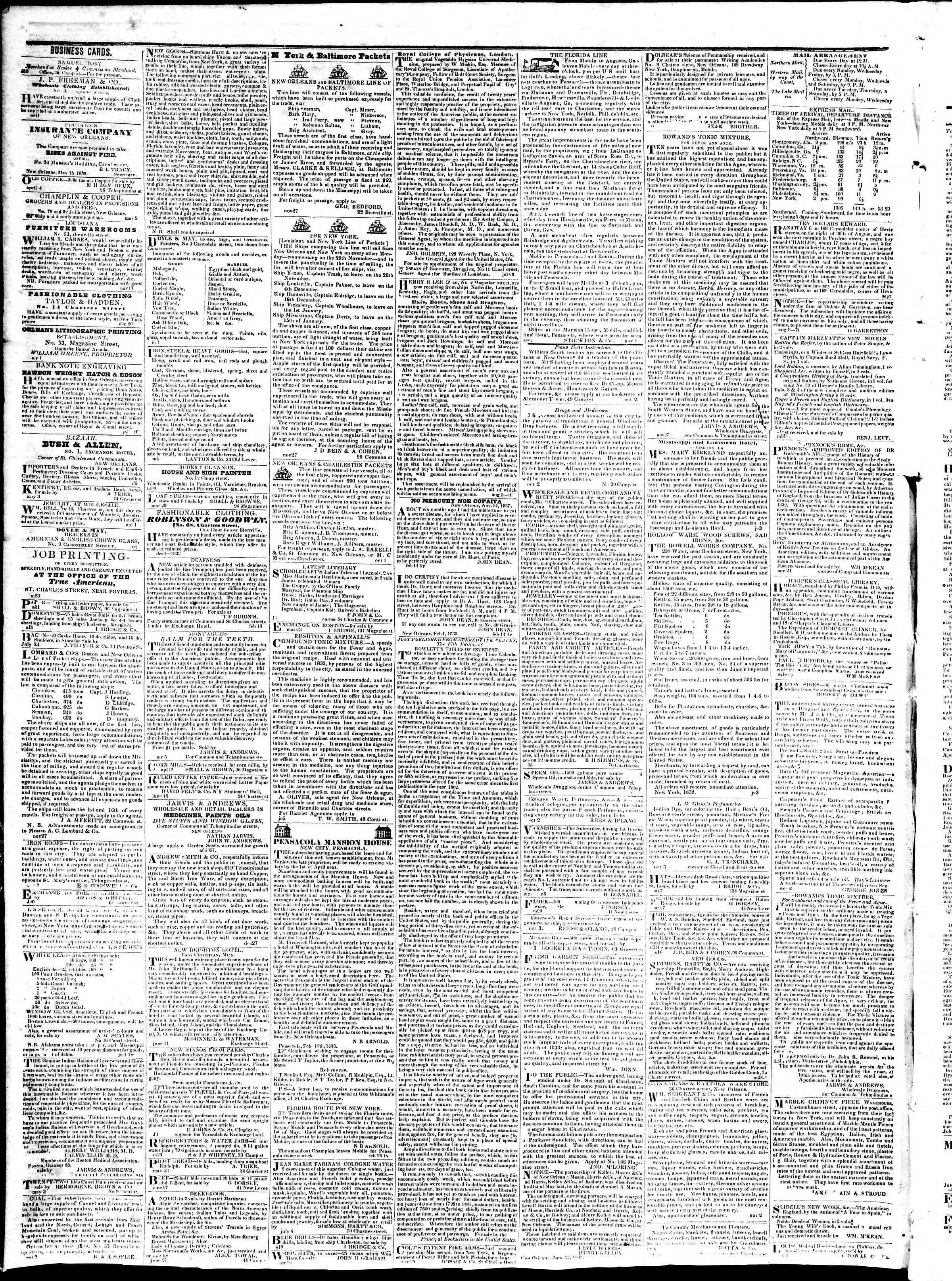 August 13, 1839 Tarihli True American Gazetesi Sayfa 4
