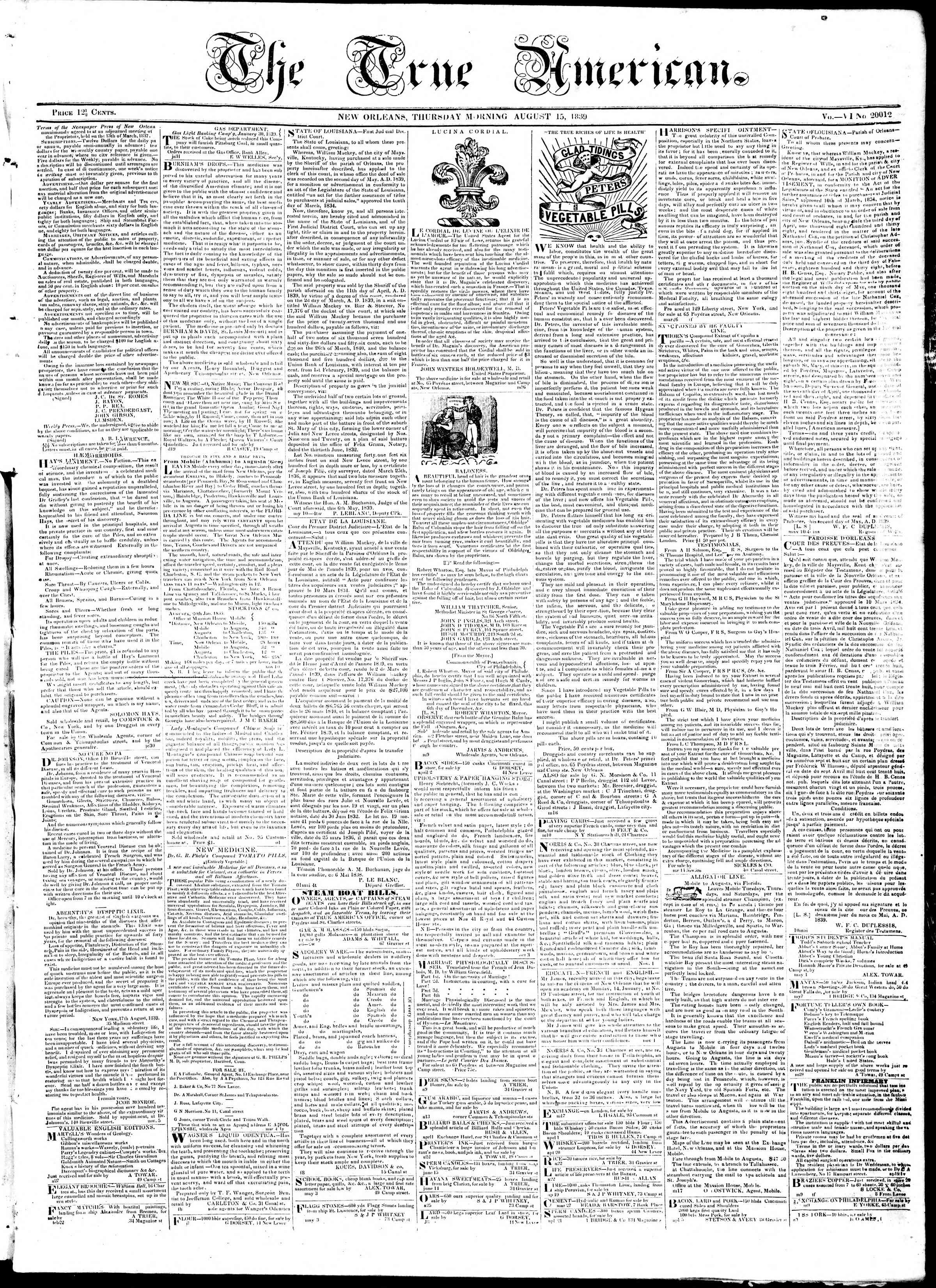 Newspaper of True American dated August 15, 1839 Page 1