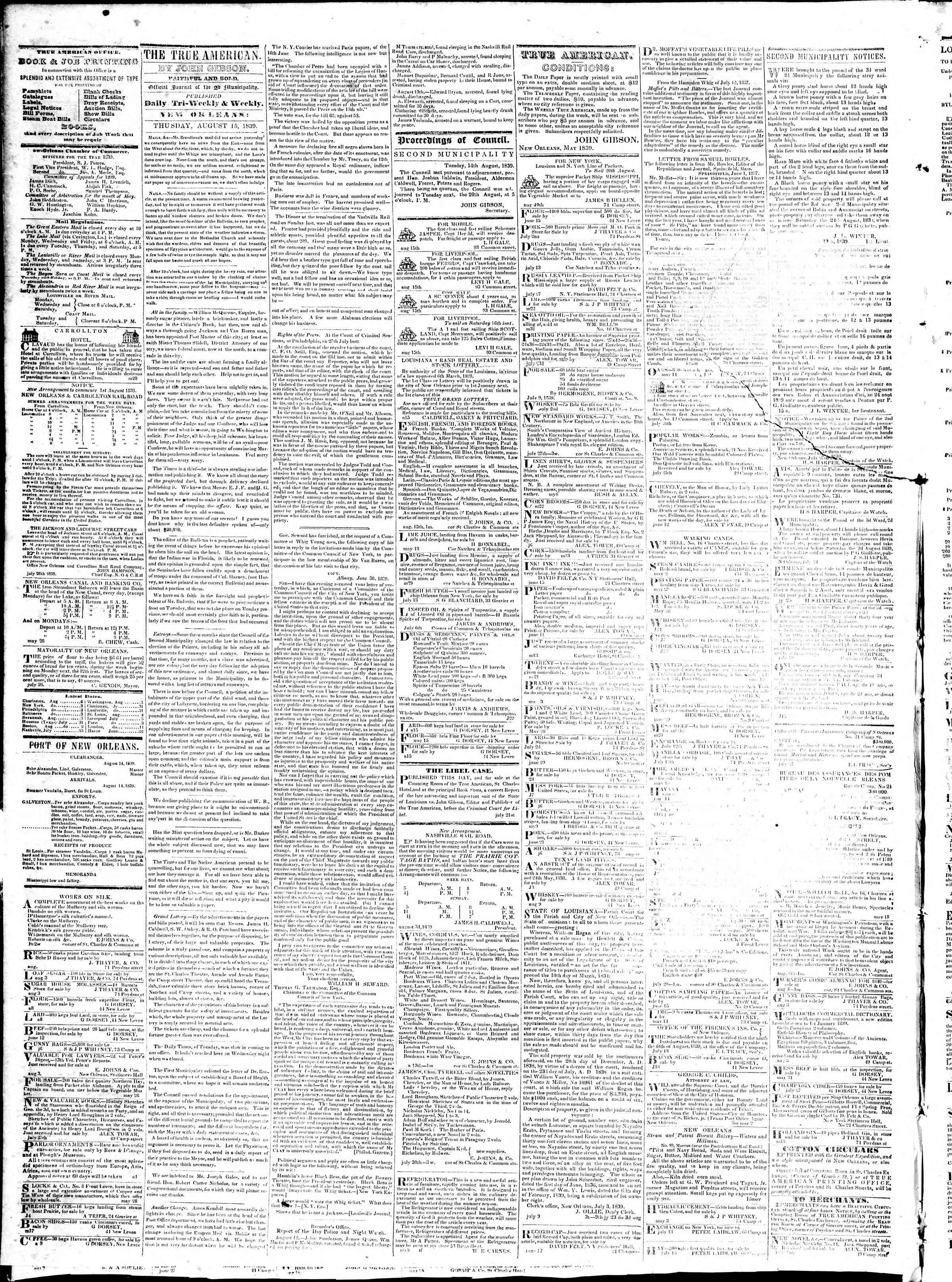 August 15, 1839 Tarihli True American Gazetesi Sayfa 2