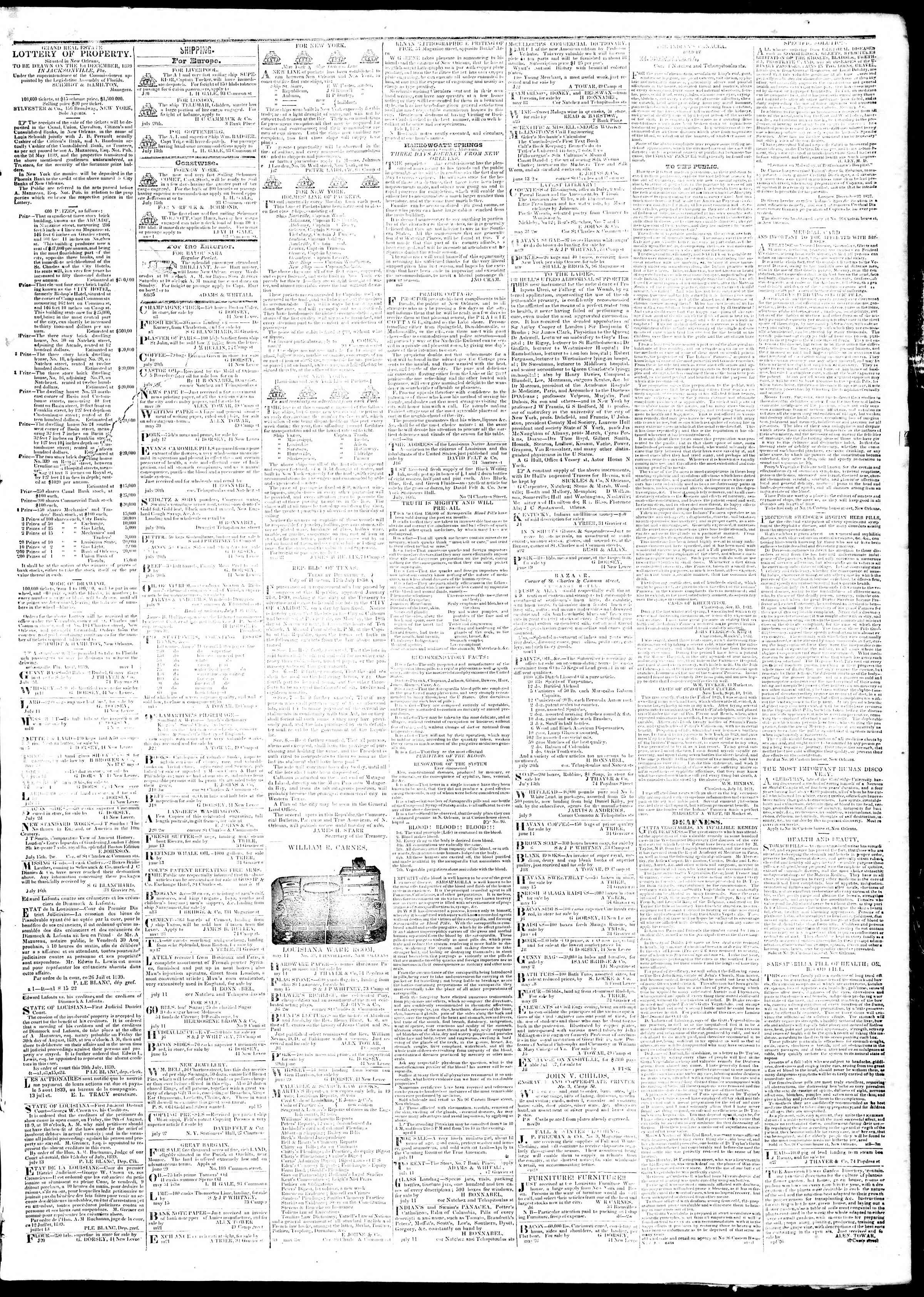 Newspaper of True American dated August 15, 1839 Page 3